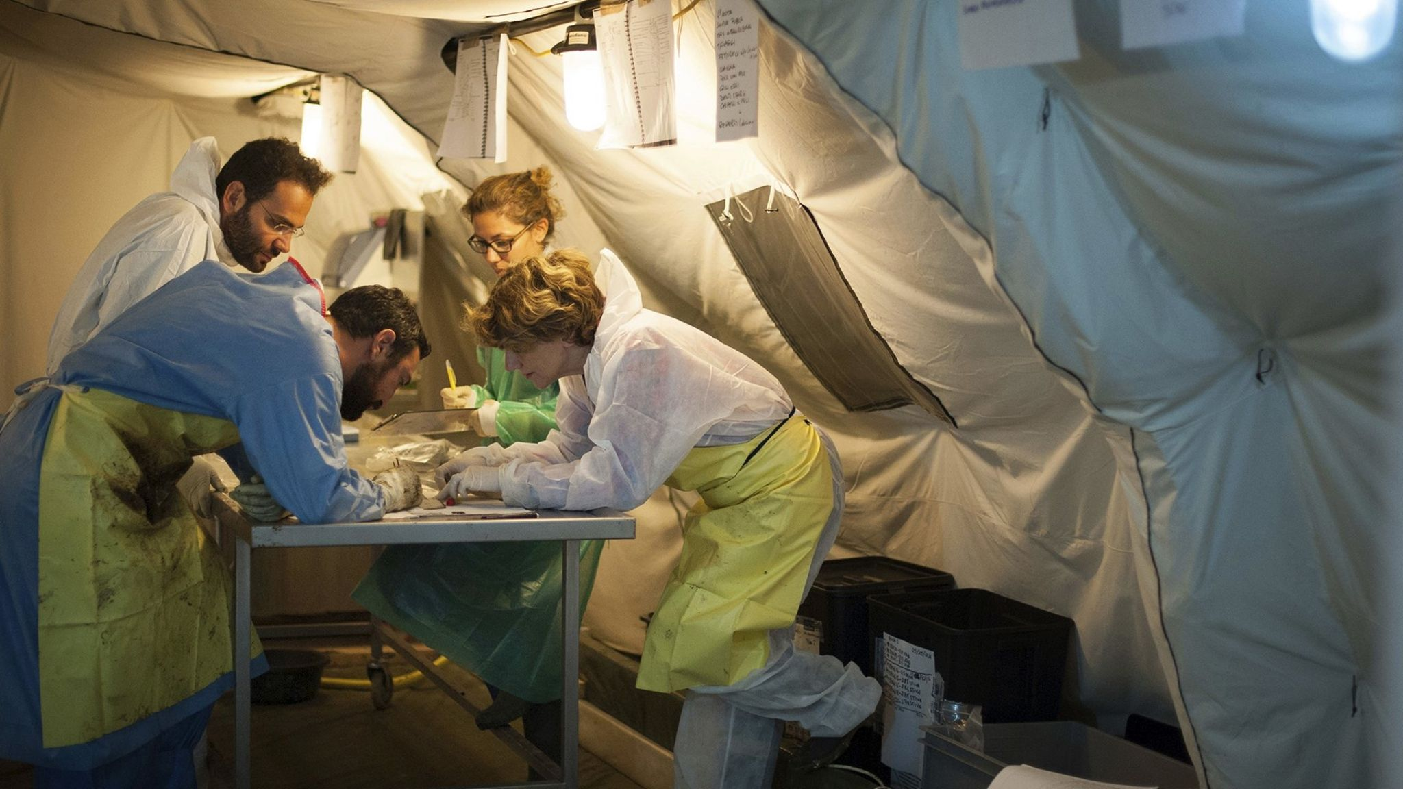 Dr Cristina Cattaneo and her team at work