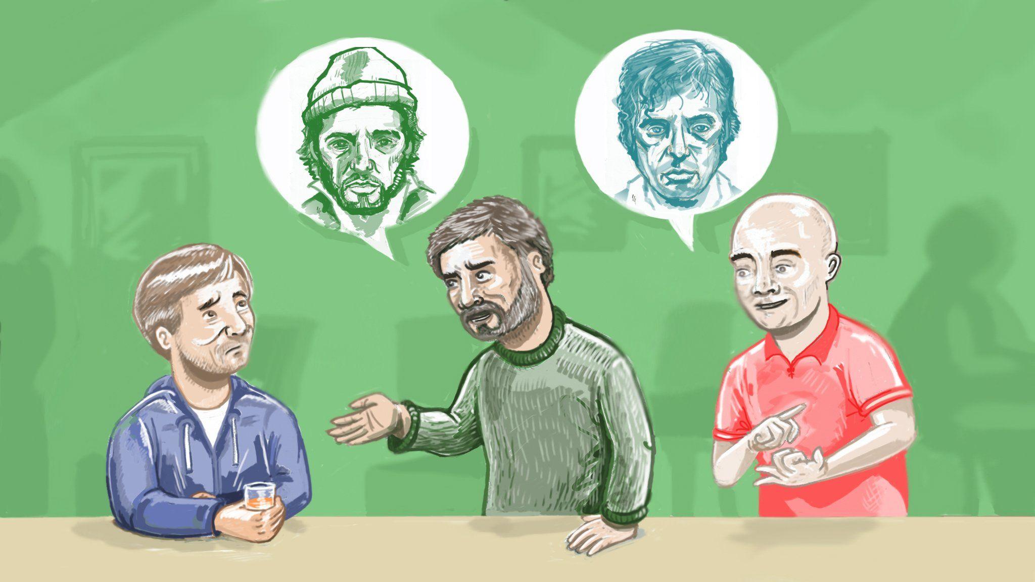 Illustration of Frank Burton participating in a pub quiz