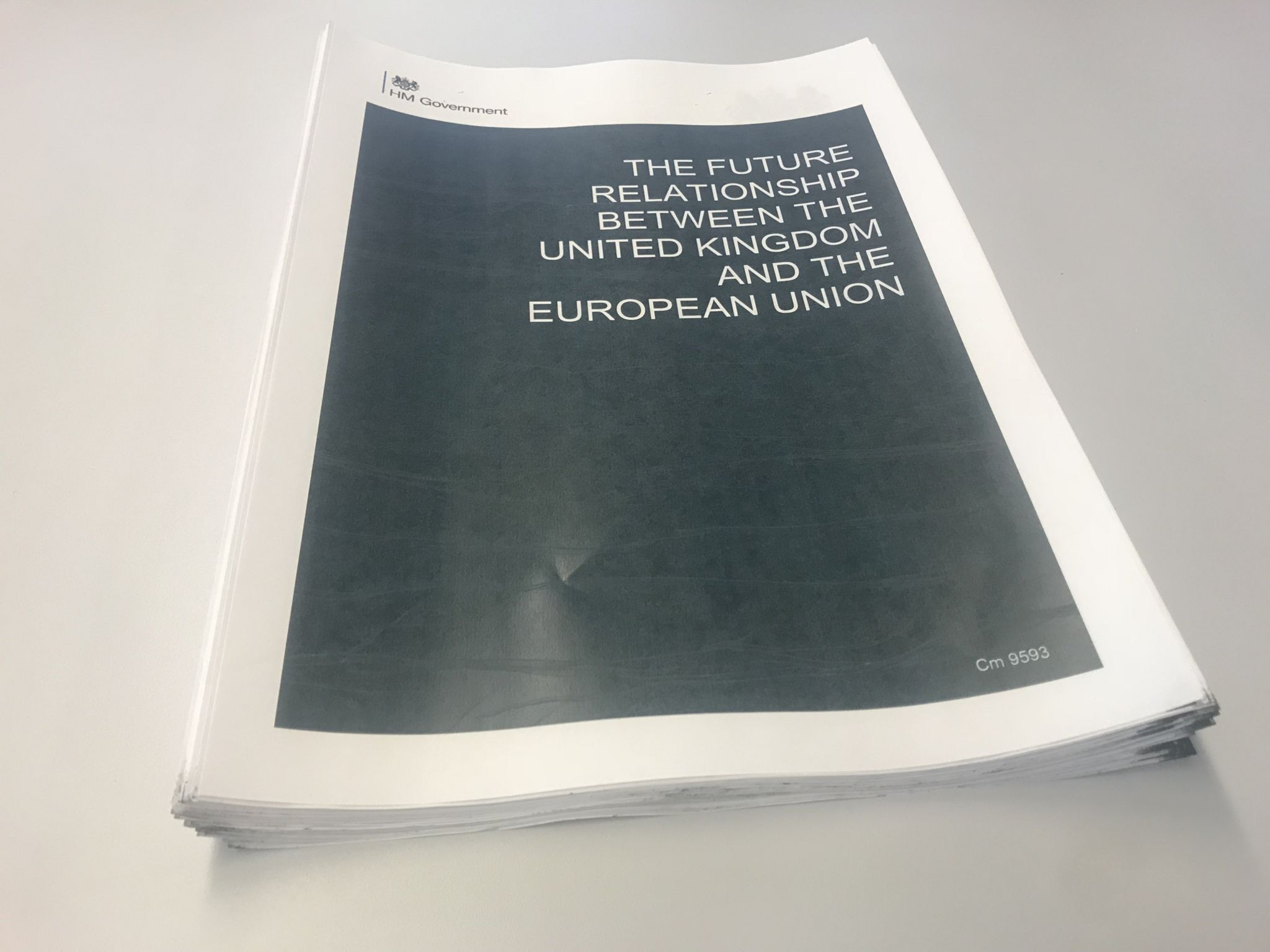 The front cover of the Brexit White Paper