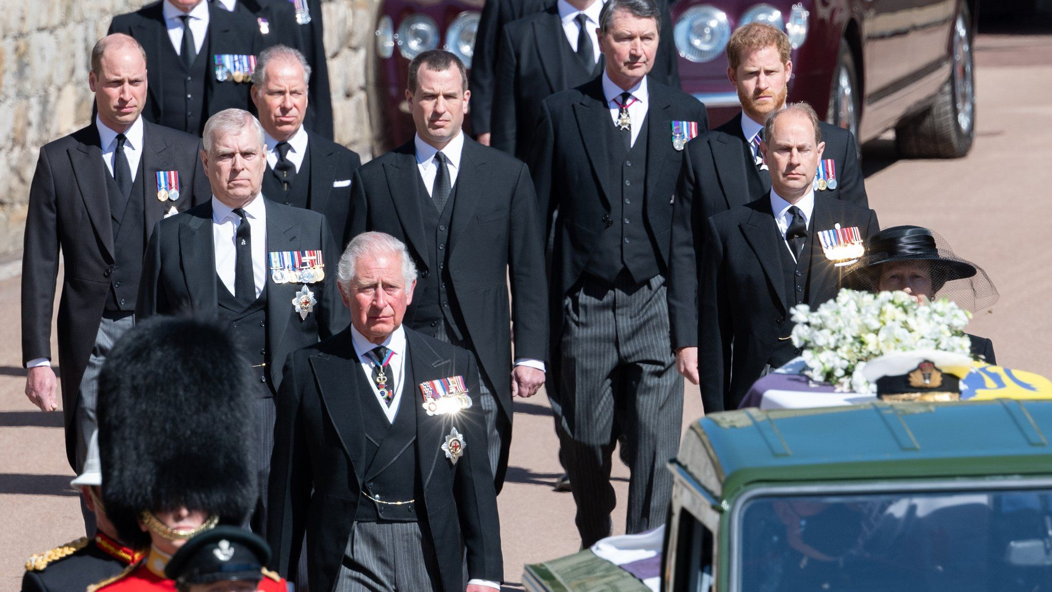 Senior royals walked behind Prince Philip's coffin during a televised procession