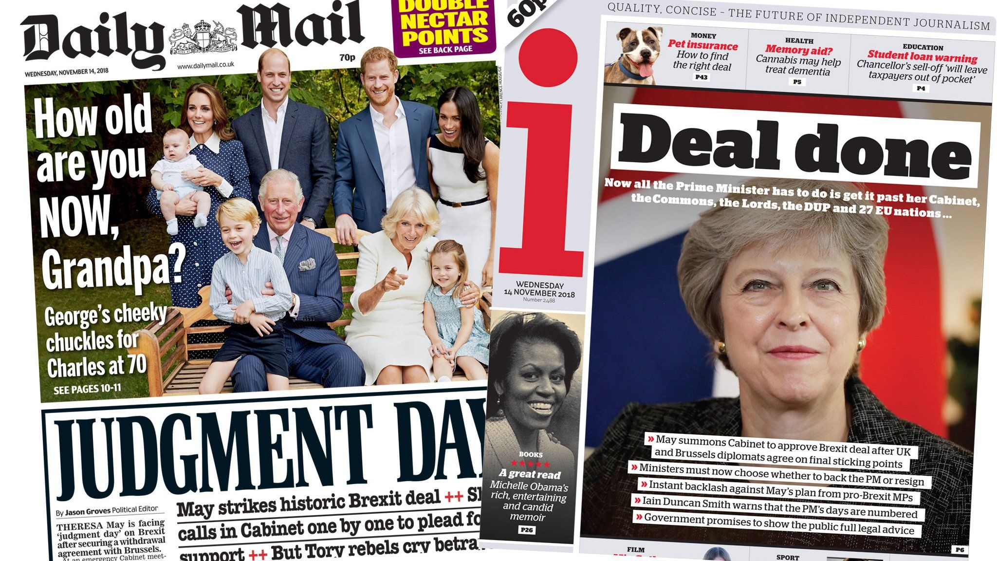 Daily Mail and i front pages