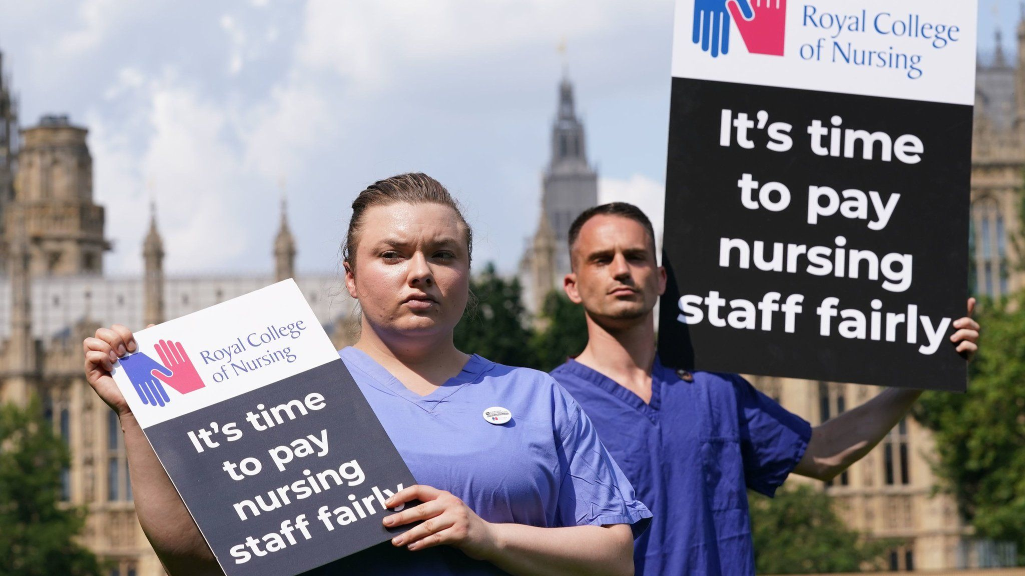 Nurses protesting at Westminster on Wednesday