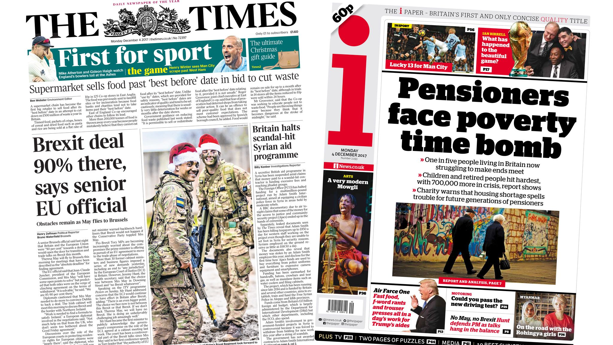 Times and i front pages for 04/12/17