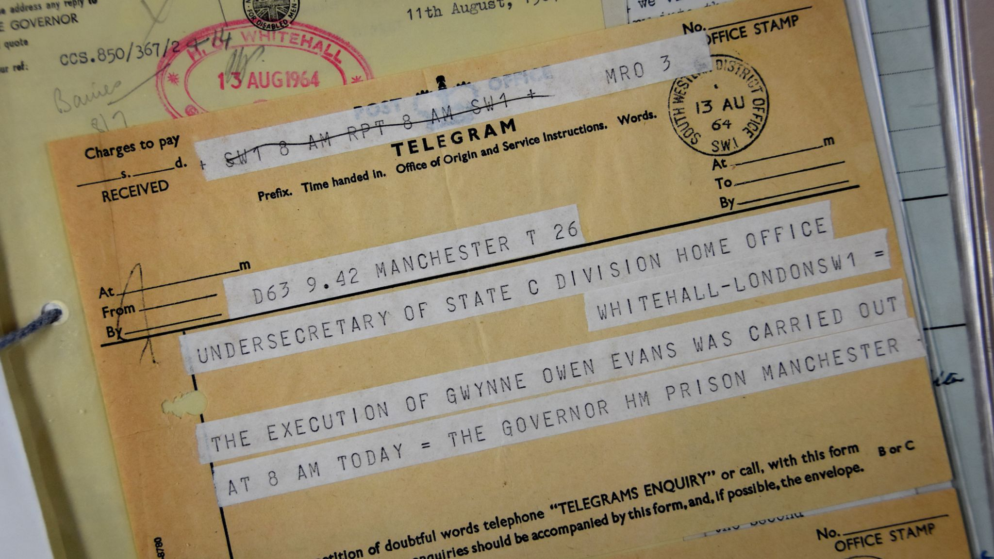 Telegram confirming the death sentence has been carried out on Gwynne Evans