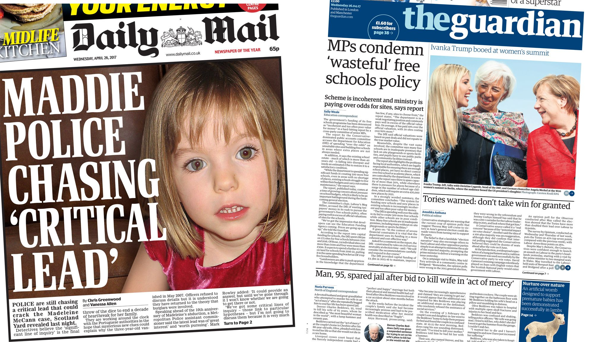 Daily Mail and Guardian front pages for 26/04/17