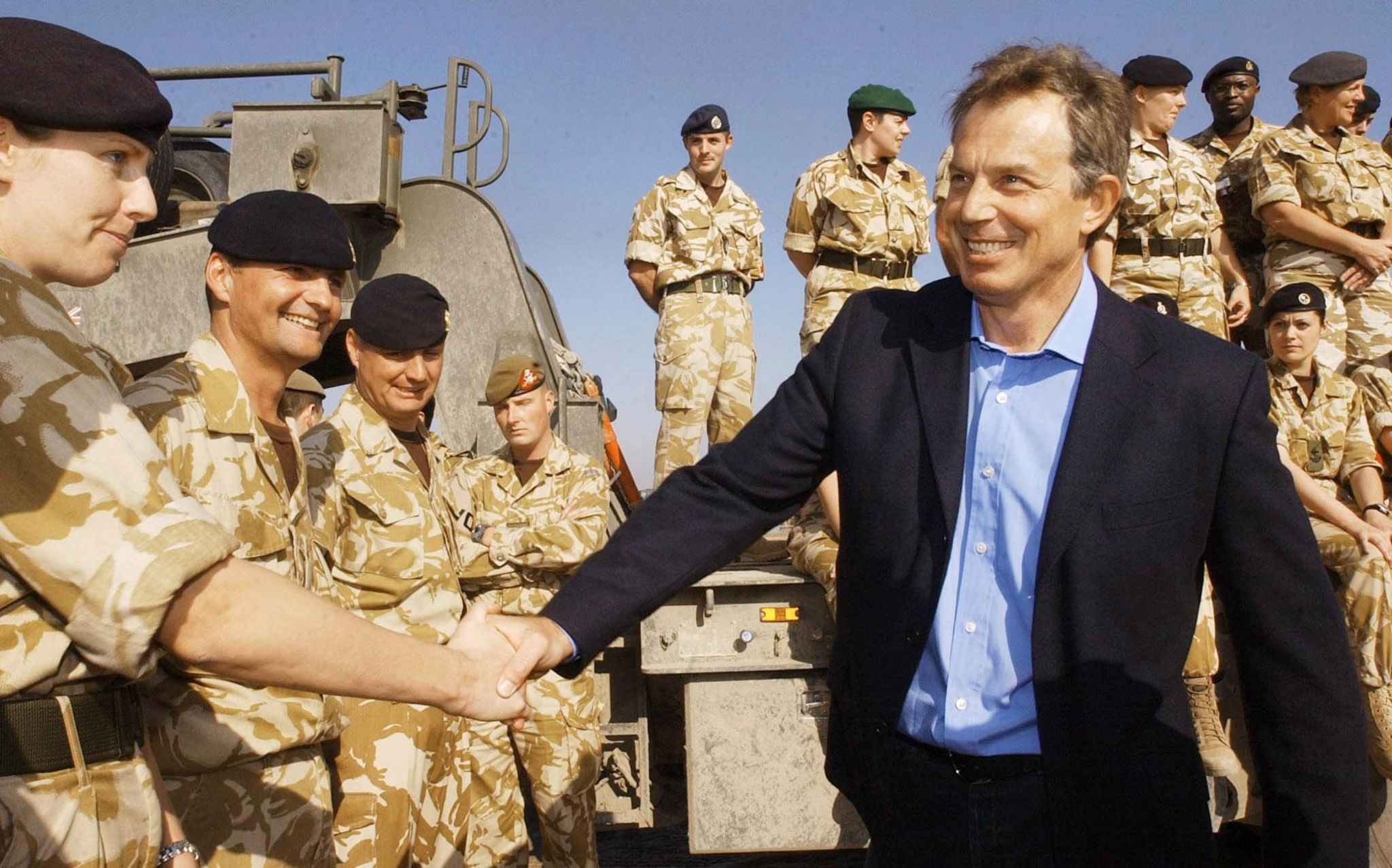 Tony Blair in Basra, southern Iraq, early 2004