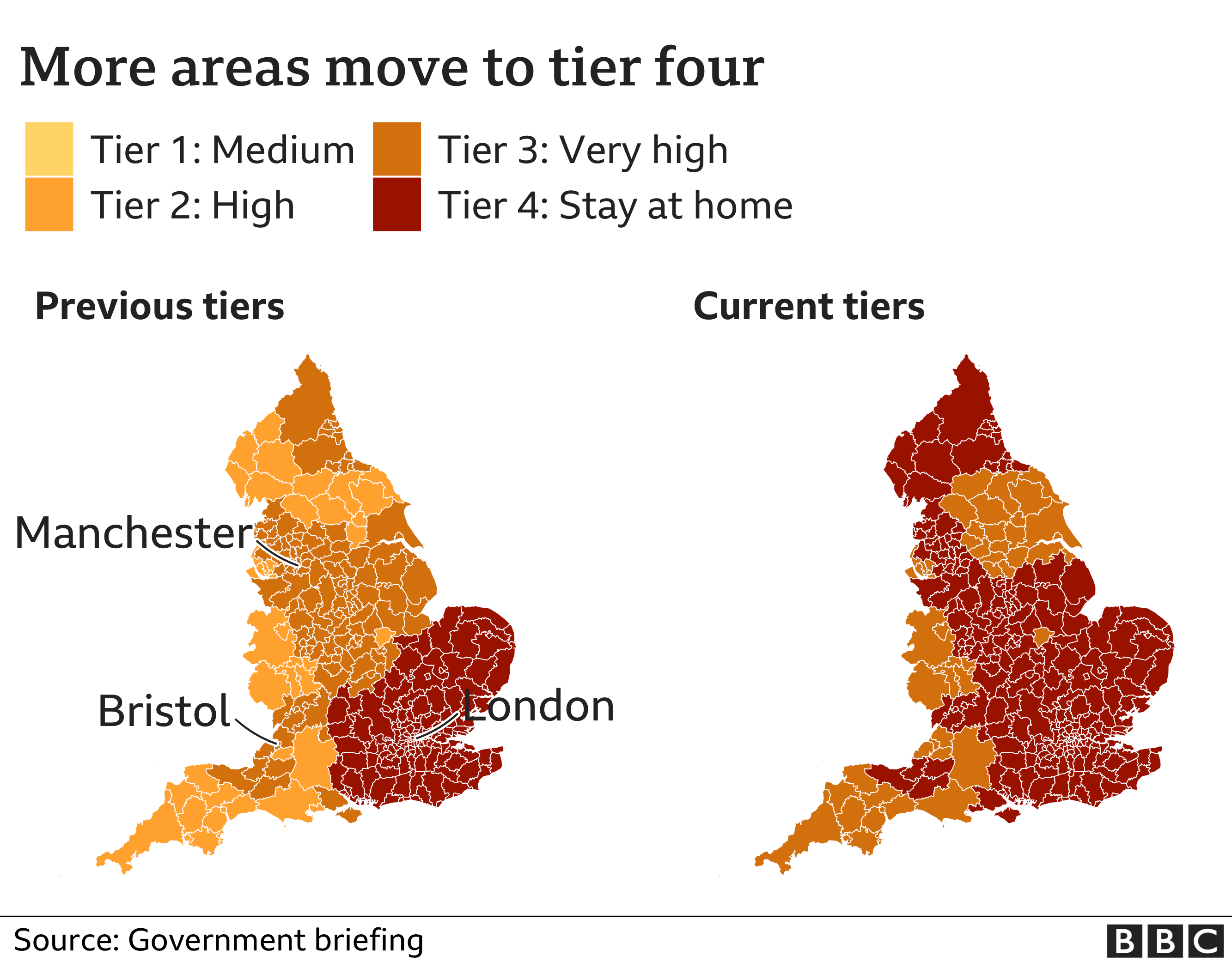 Map showing new tier areas