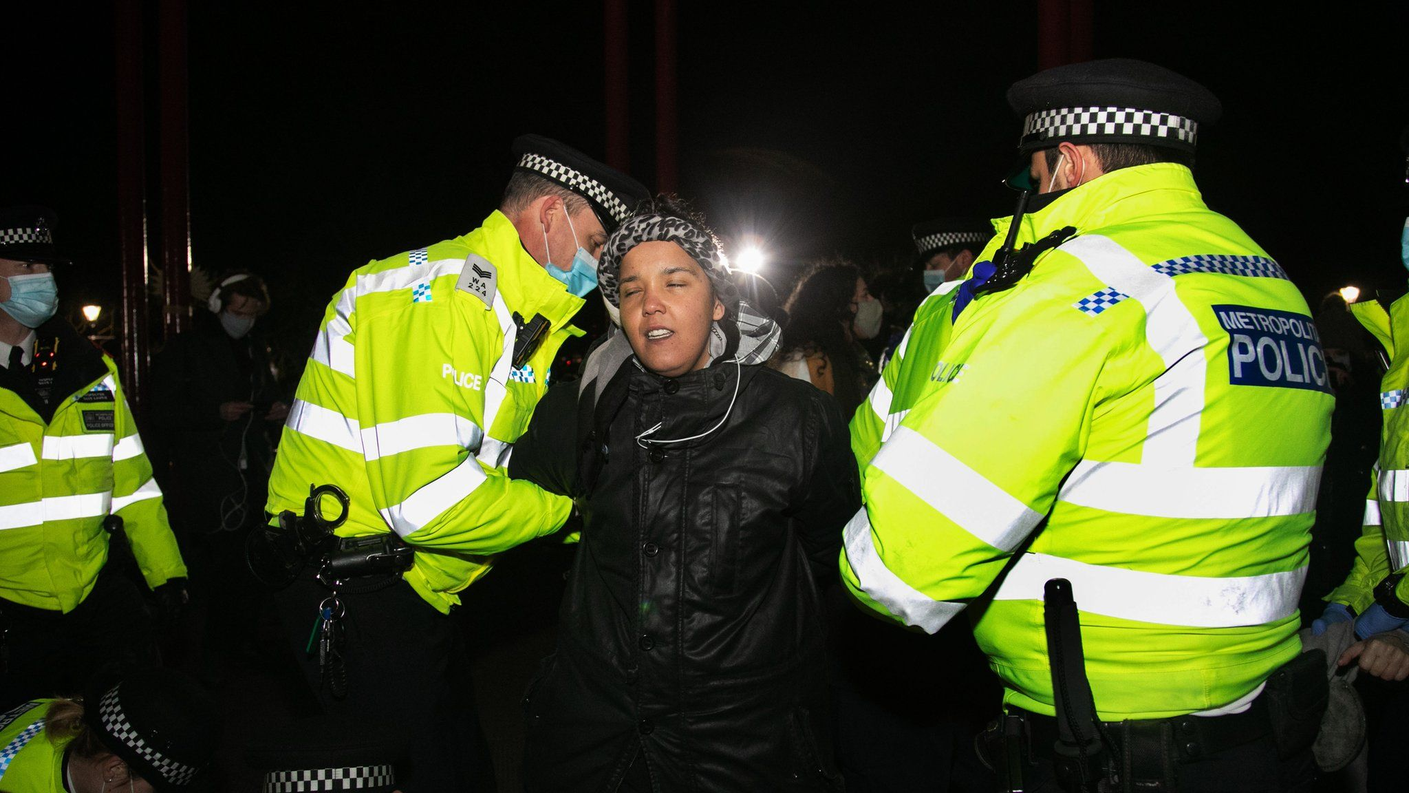 Jade Cherelle Chambers is arrested by police during Saturday's vigil