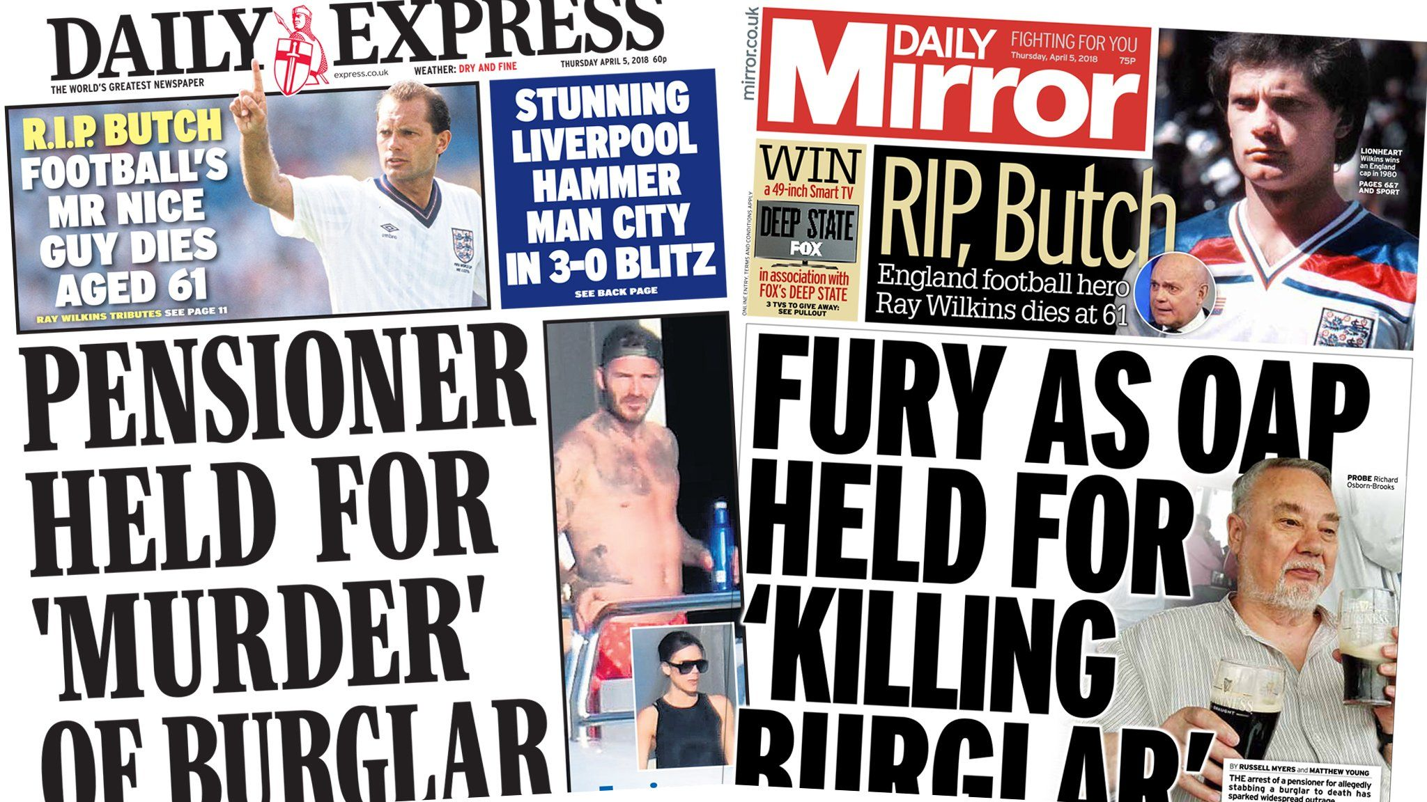 Express and Mirror front pages 5th April