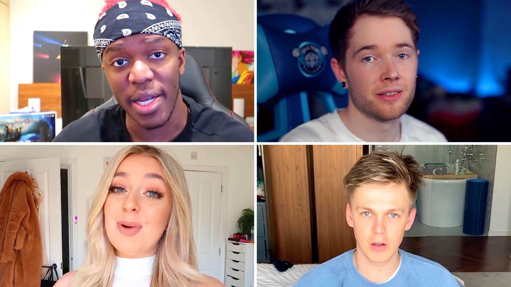 A montage of YouTube stars