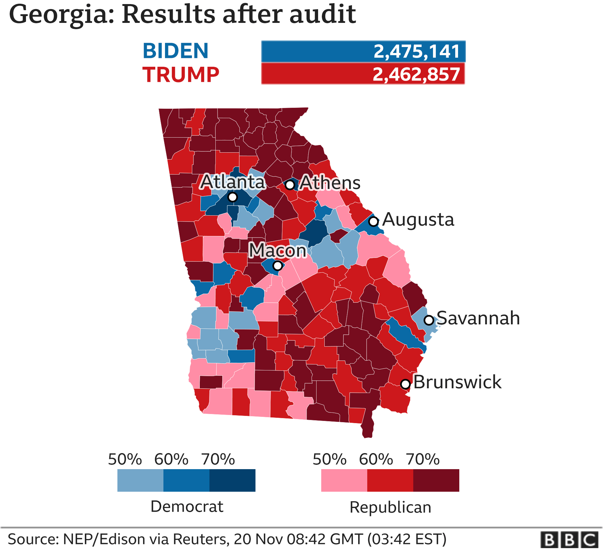 Map of Georgia results by county