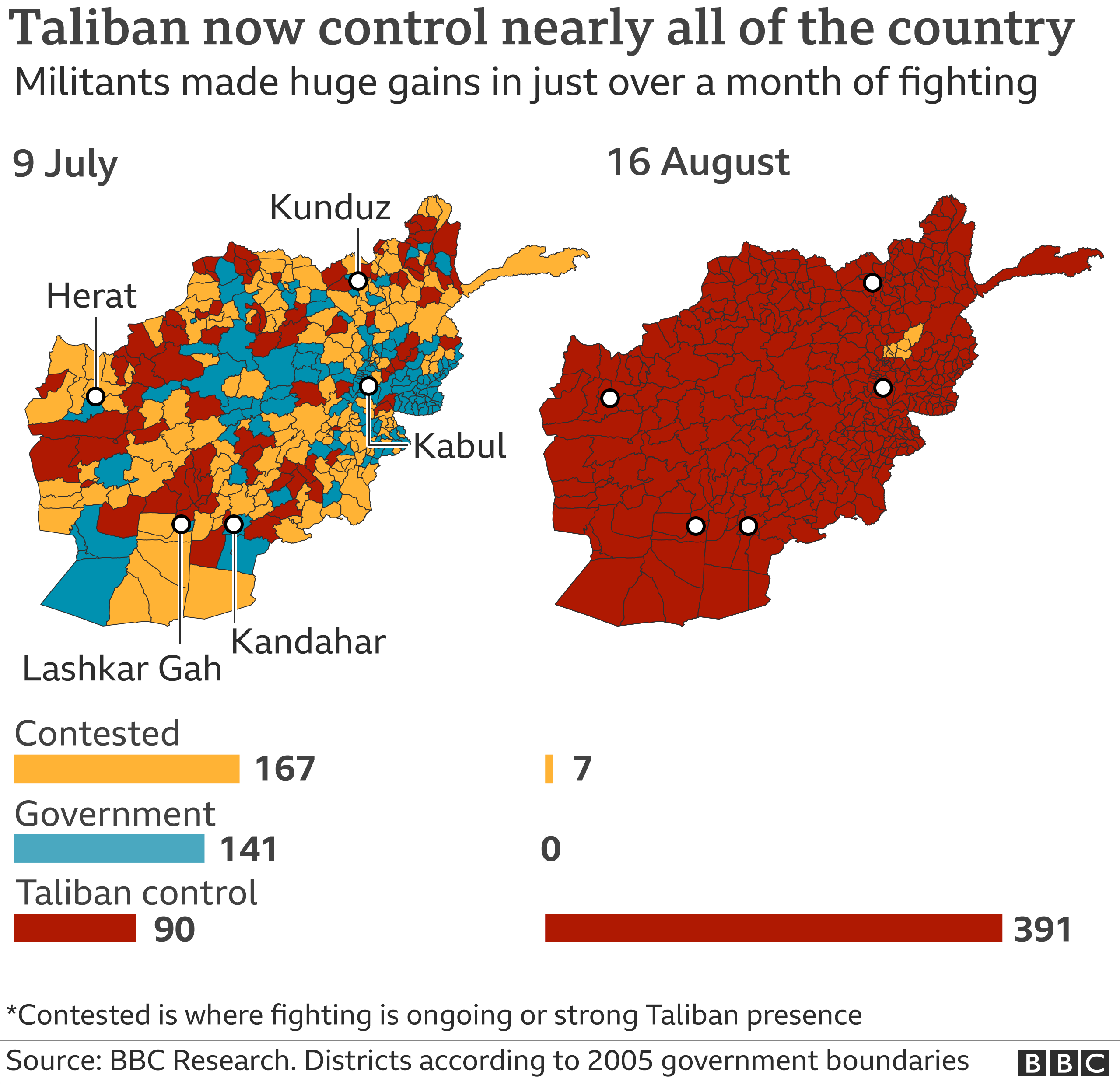 Map showing advances Taliban made in just over a month of fighting