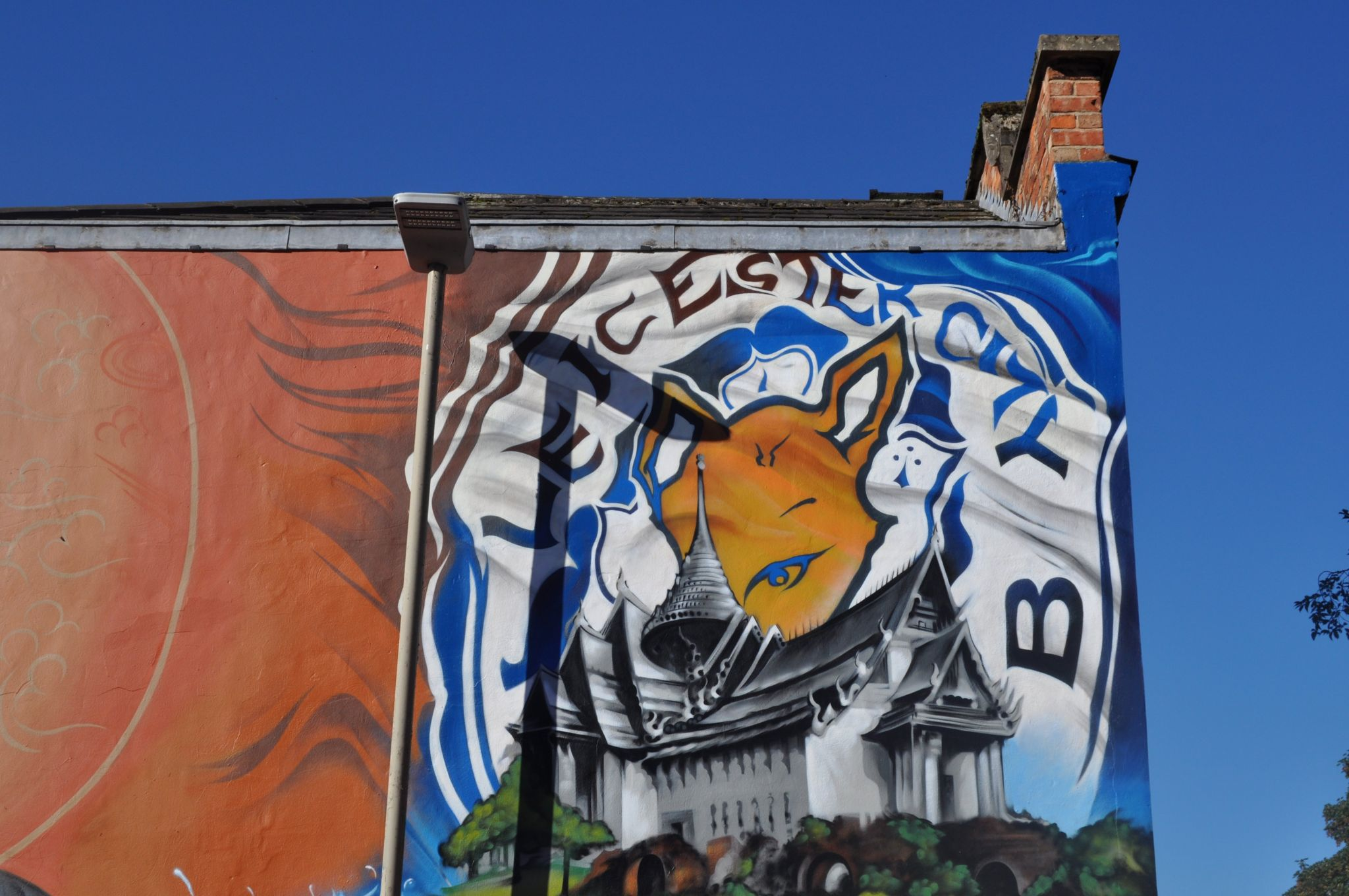 Leicester badge on a mural