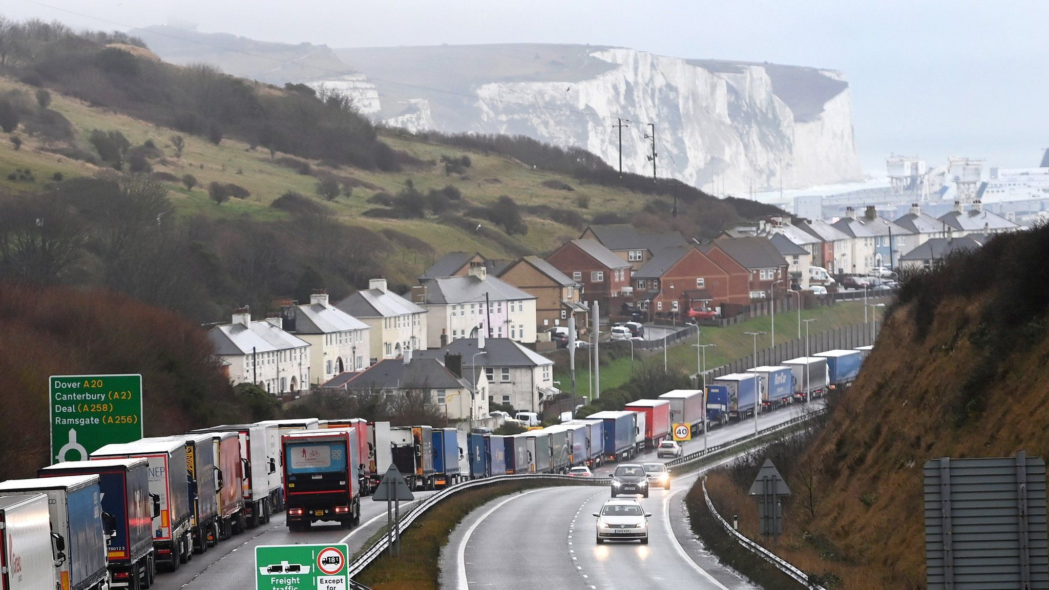 Queues near the White Cliffs of Dover on Friday