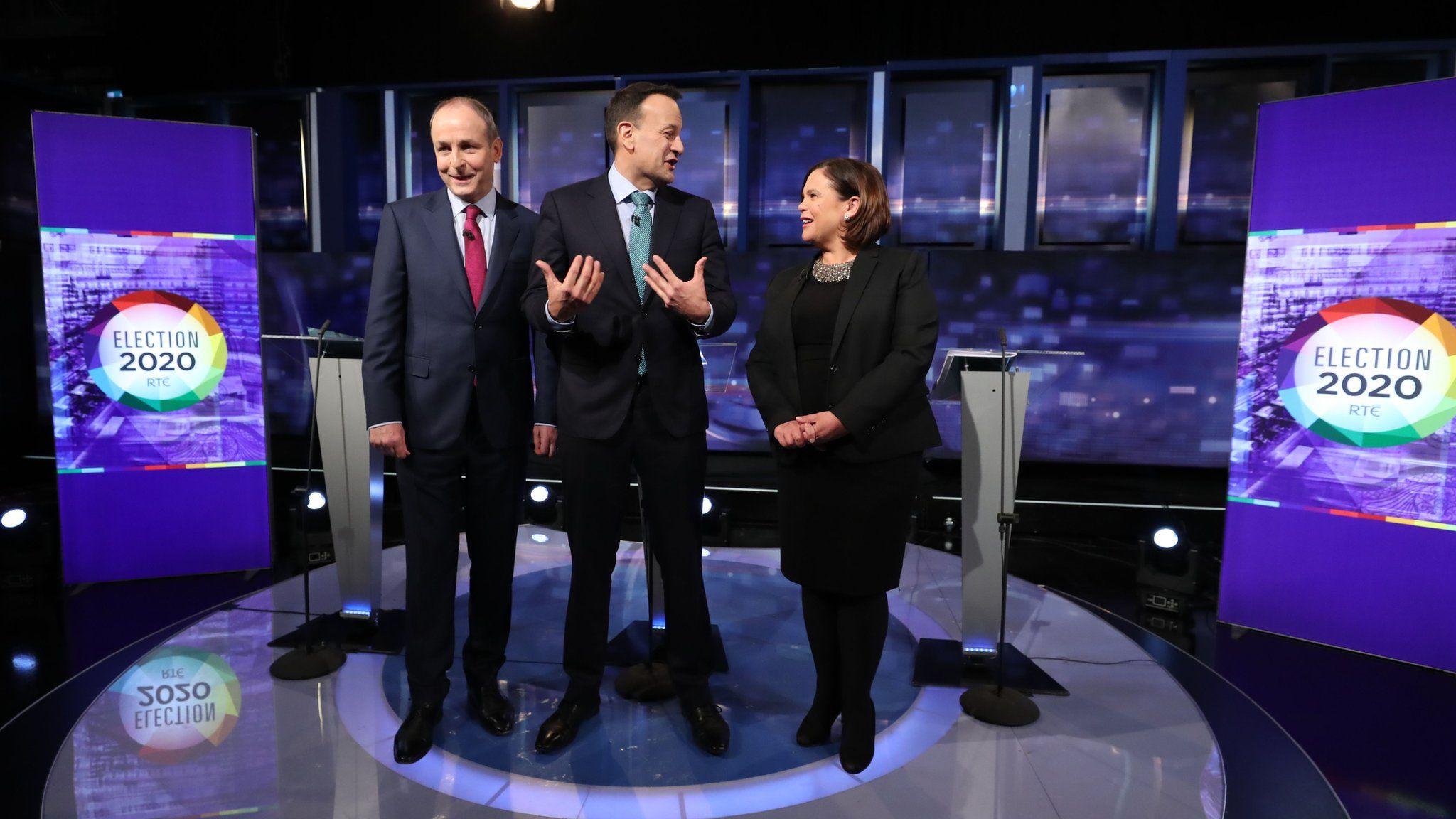 Irish political leaders Micheal Martin, Leo Varadkar and Mary Lou McDonald