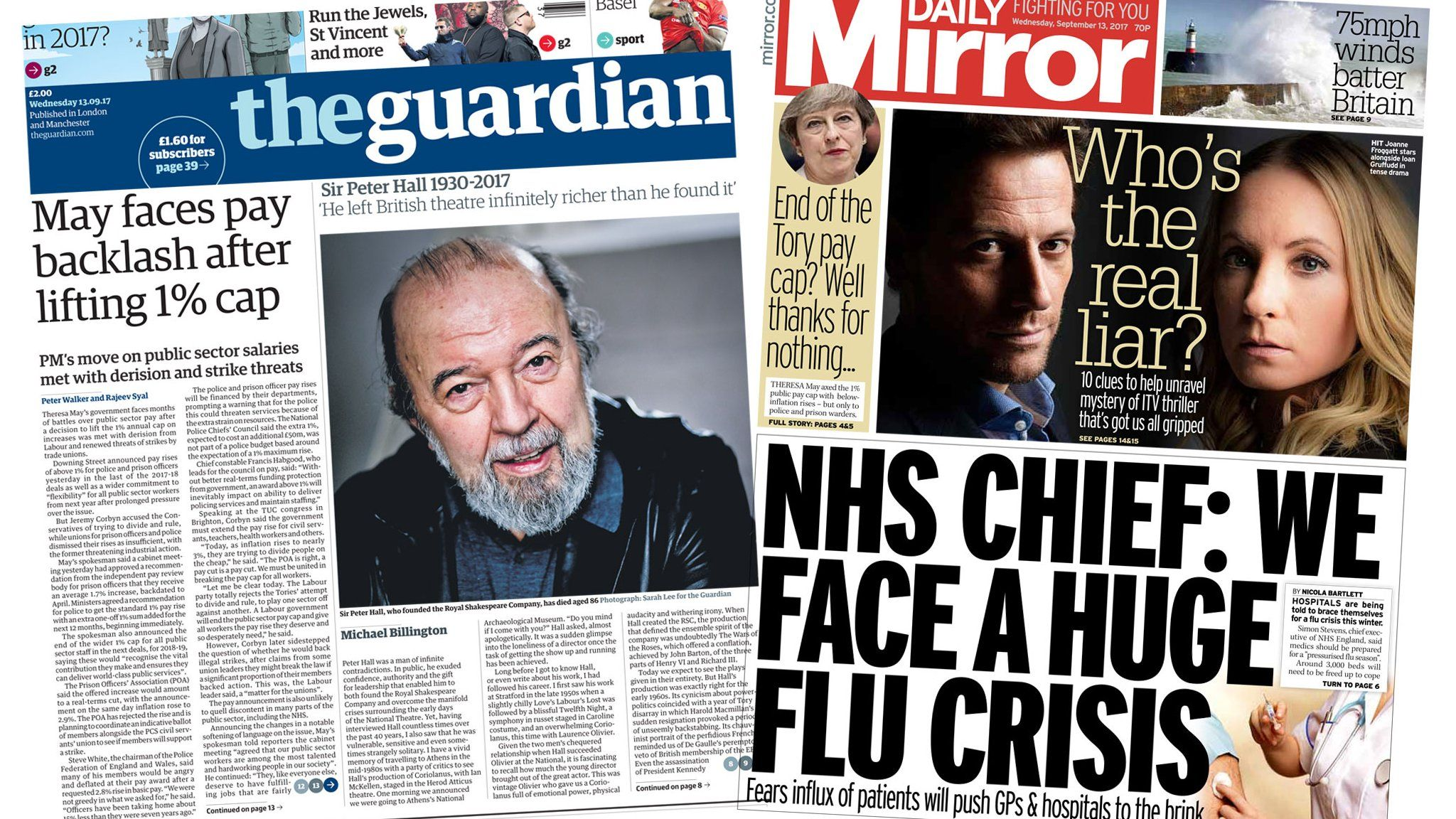 Guardian/Mirror front page