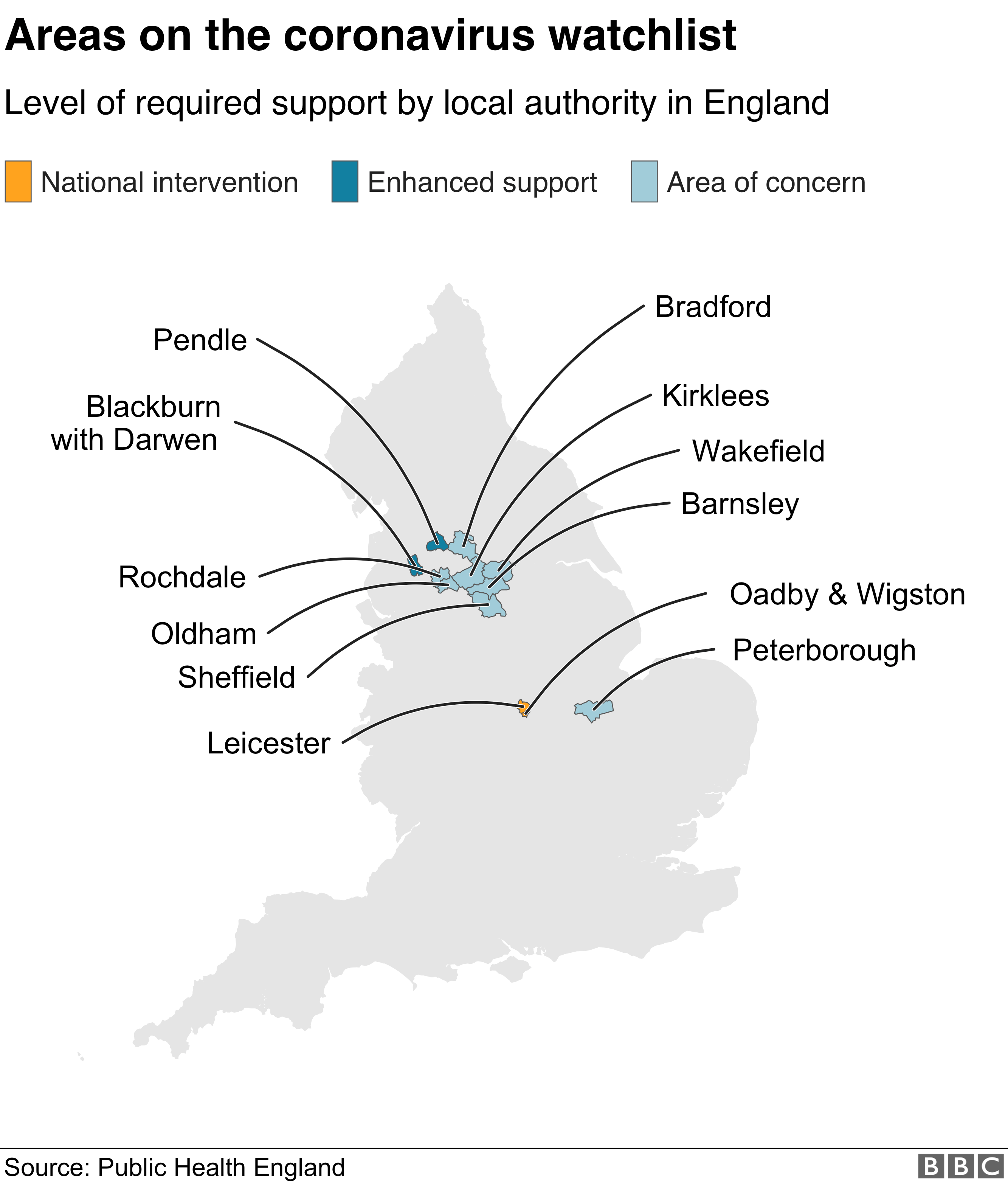 Map showing areas on coronavirus watchlist