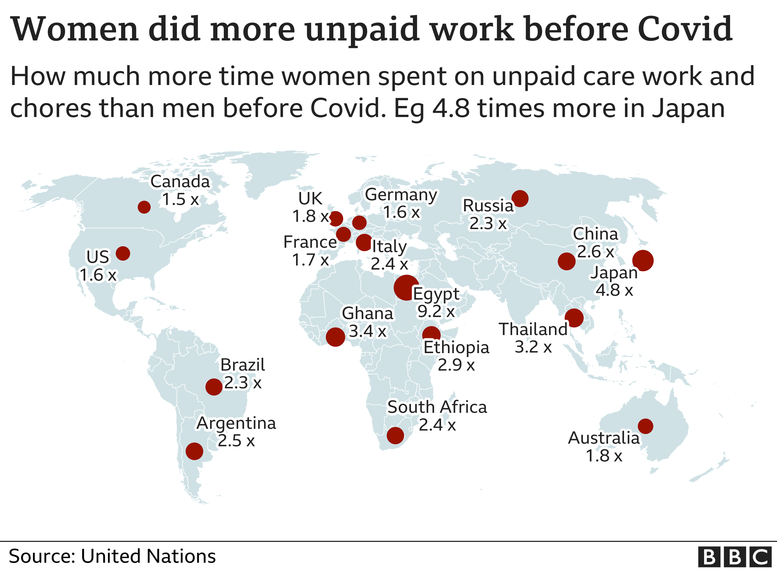 Map showing how much more work unpaid care and domestic chore work women do than men in selected countries
