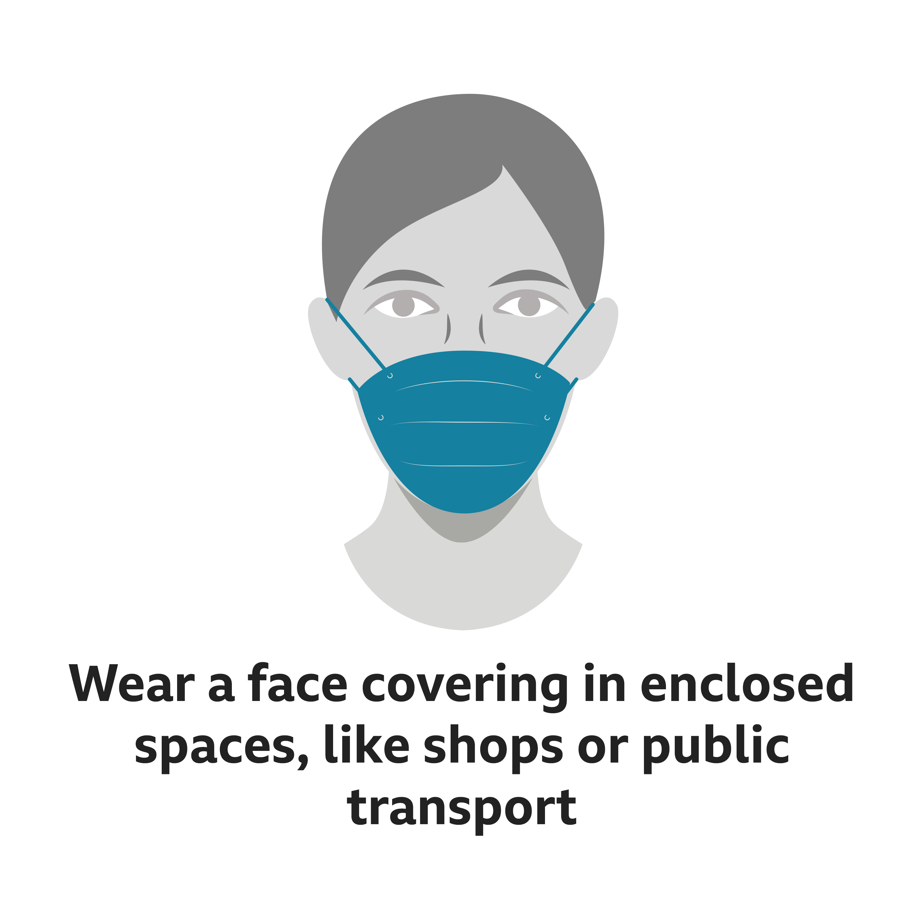 Image shows woman wearing a face covering - and says they must be worn in enclosed spaces like shops or public transport