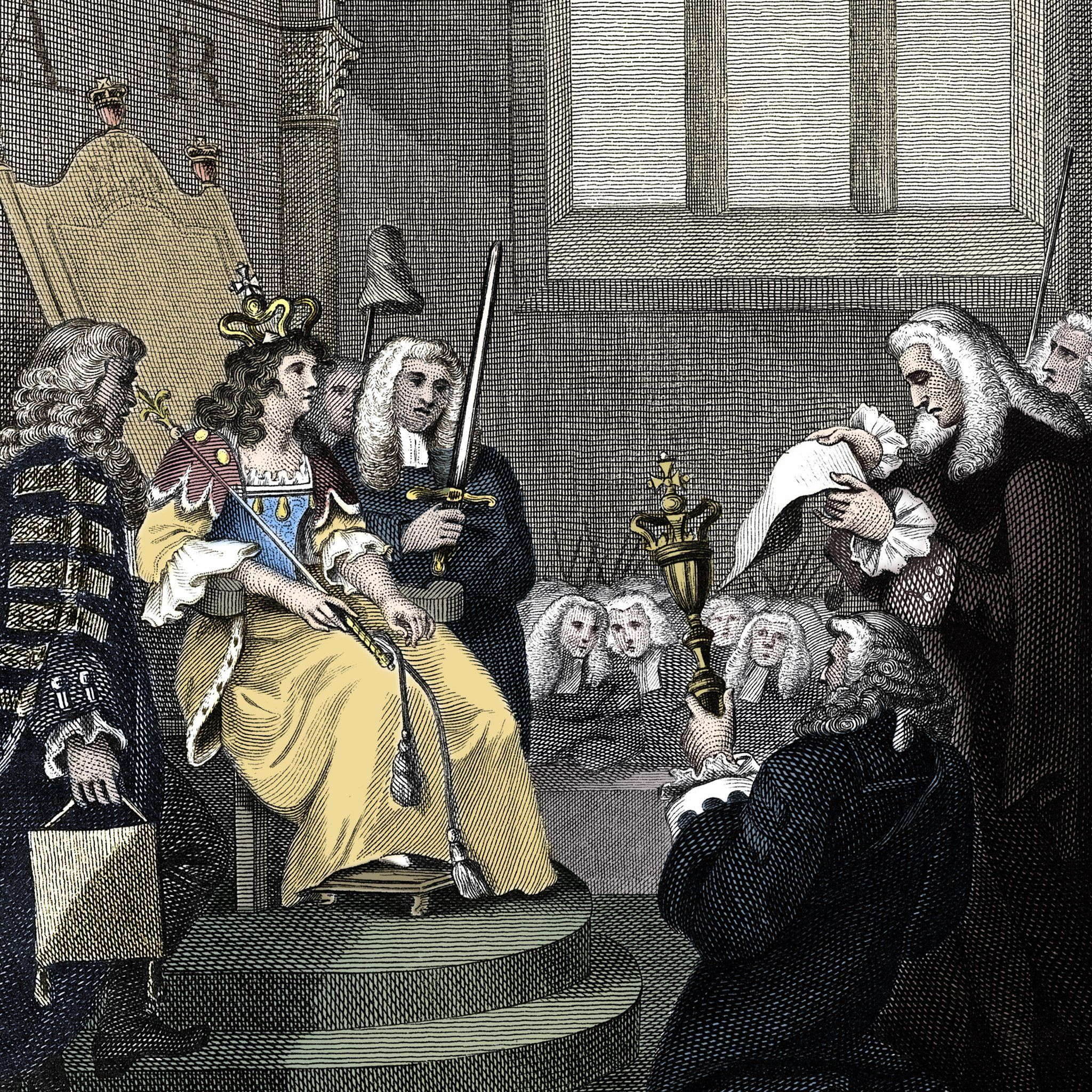 The Acts of Union between England and Scotland being read before Queen Anne, 1707.