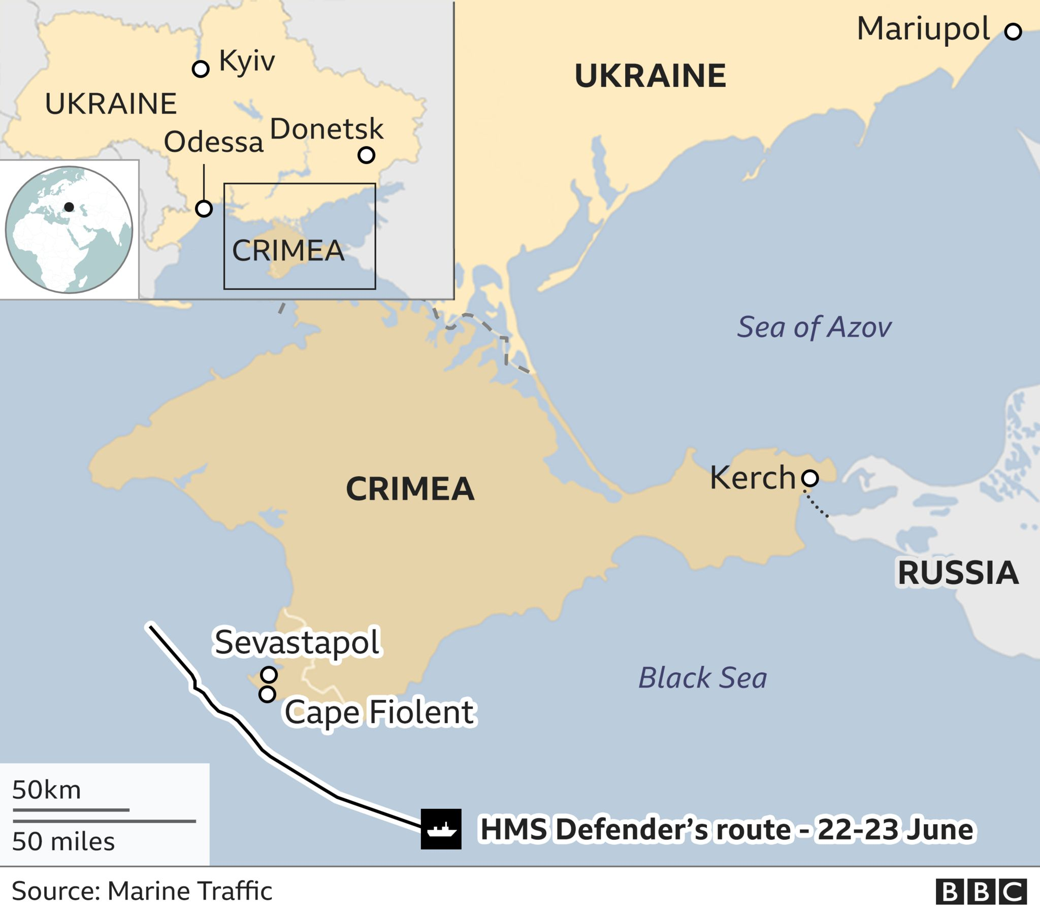 Map showing Crimea, Ukraine and Russia and the warship's path