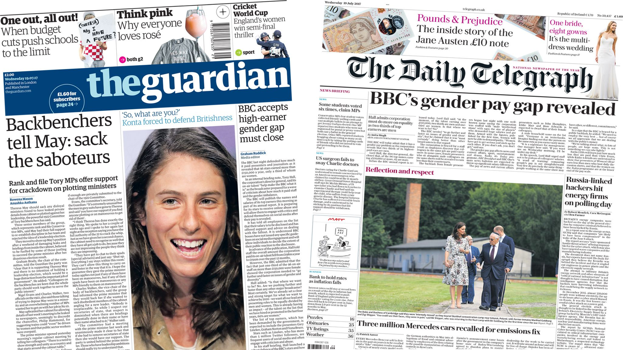 Guardian/Telegraph front pages