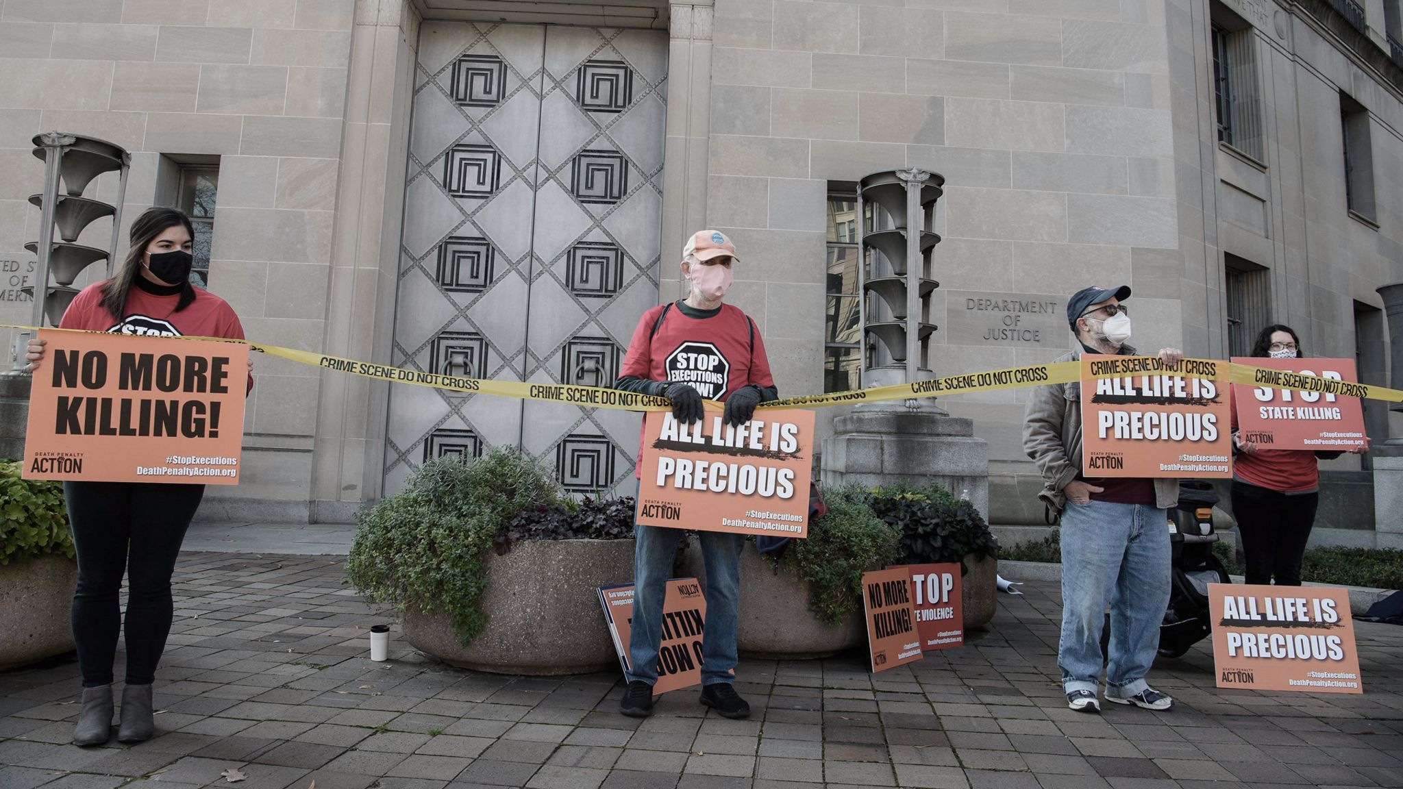 Protest against federal executions of death row inmates - outside the US Justice Department, Washington DC, December 2020