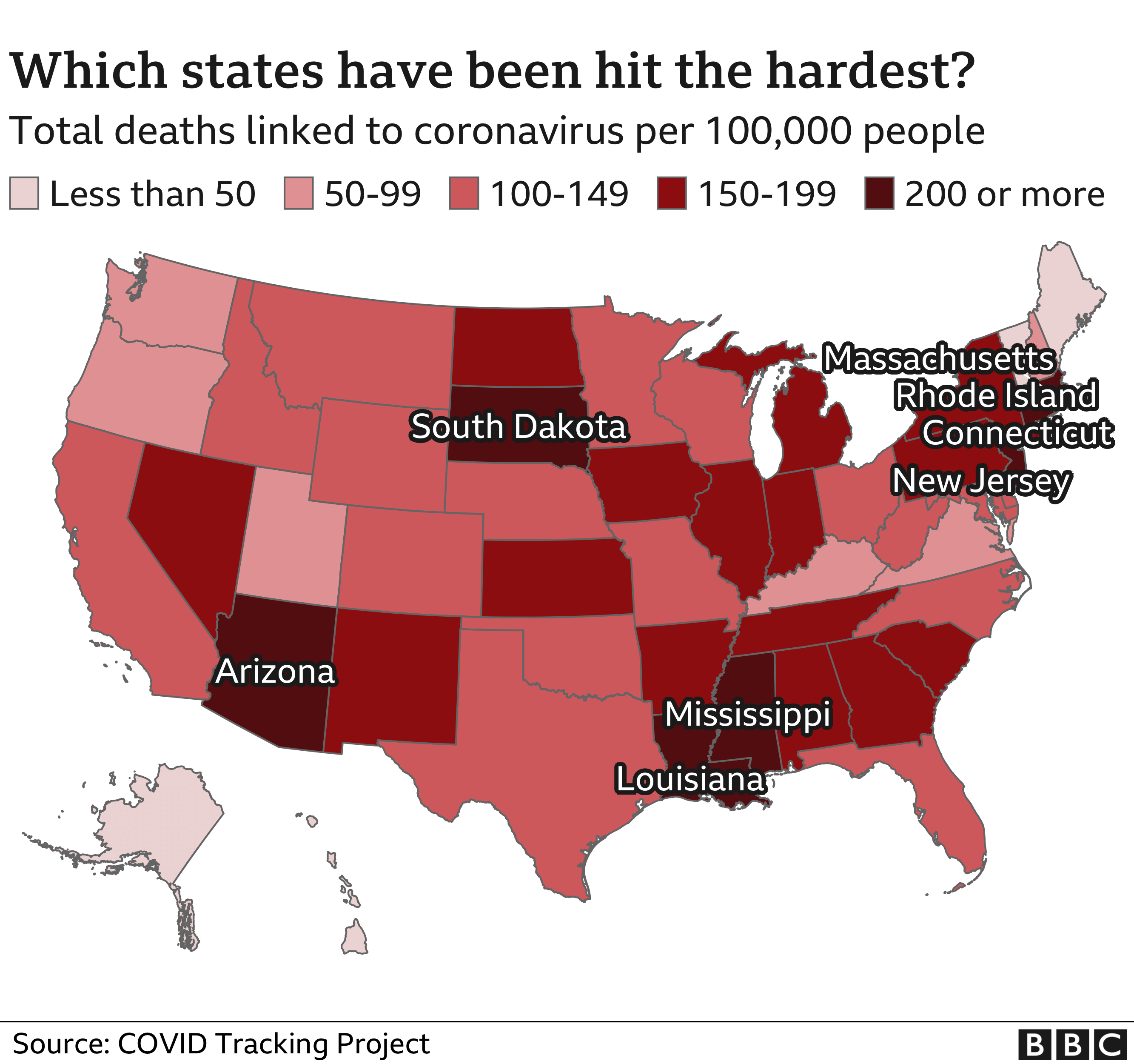 US states hurt by Covid-19