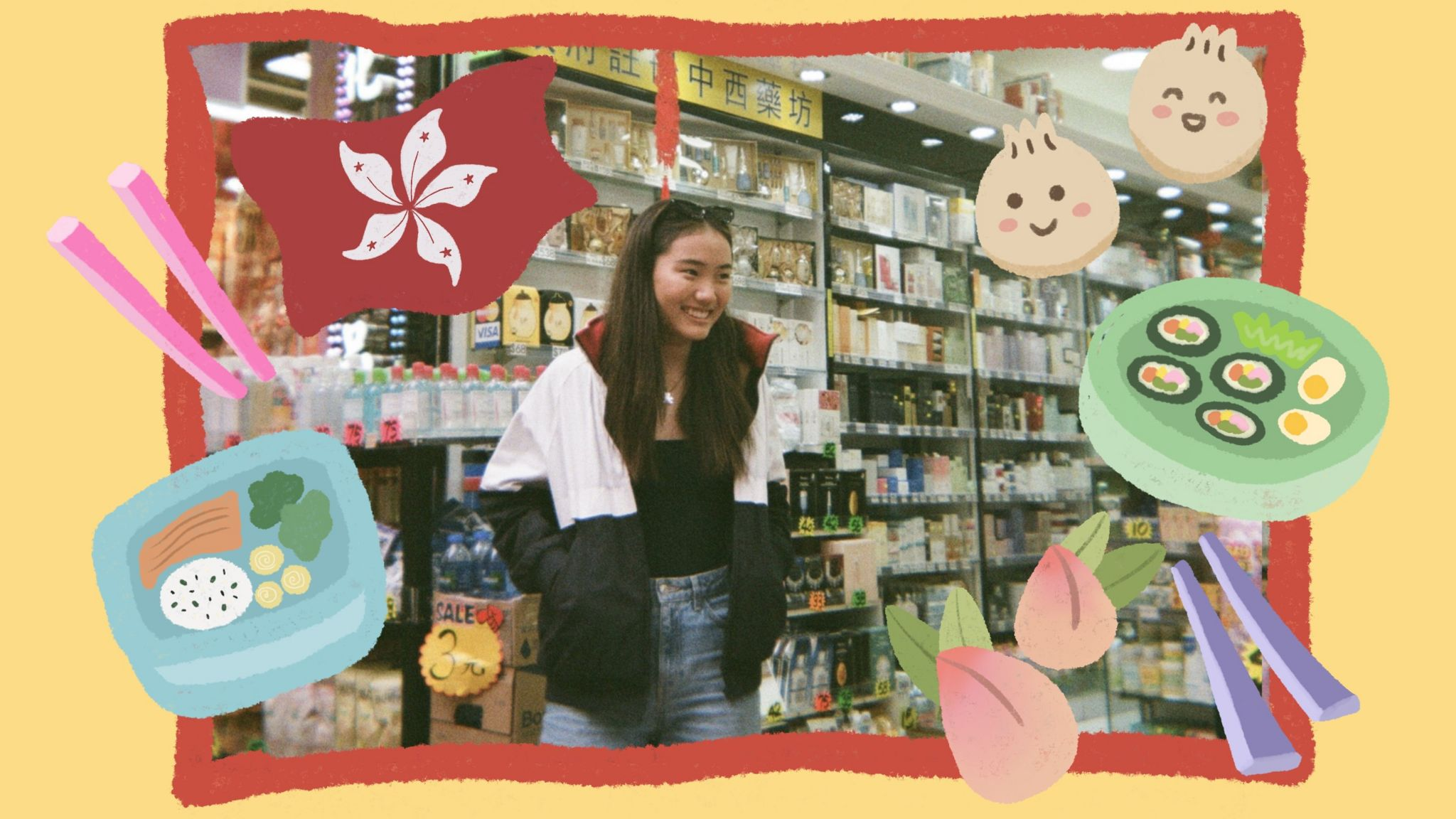 Arden standing in a Hong Kong superstore with illustrations of sushi, chopsticks and dim sum