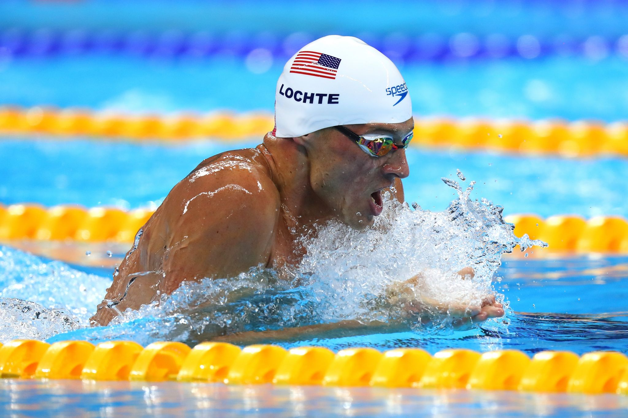 Ryan Lochte of the United States in the Men's 200m Individual Medley heat on Day 5 of the Rio 2016 Olympic Games at the Olympic Aquatics Stadium on August 10, 2016
