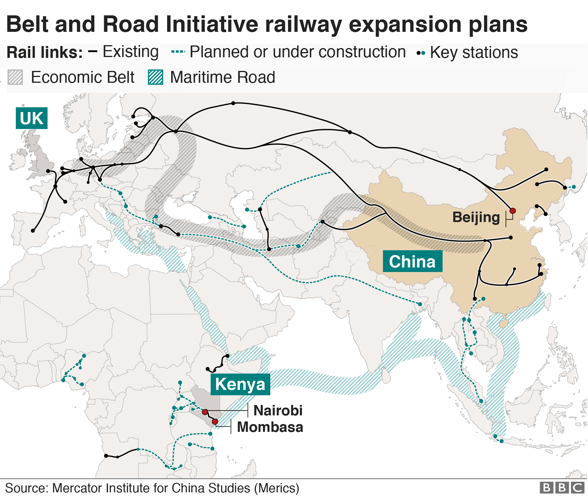 Map showing extent of belt and road initiative