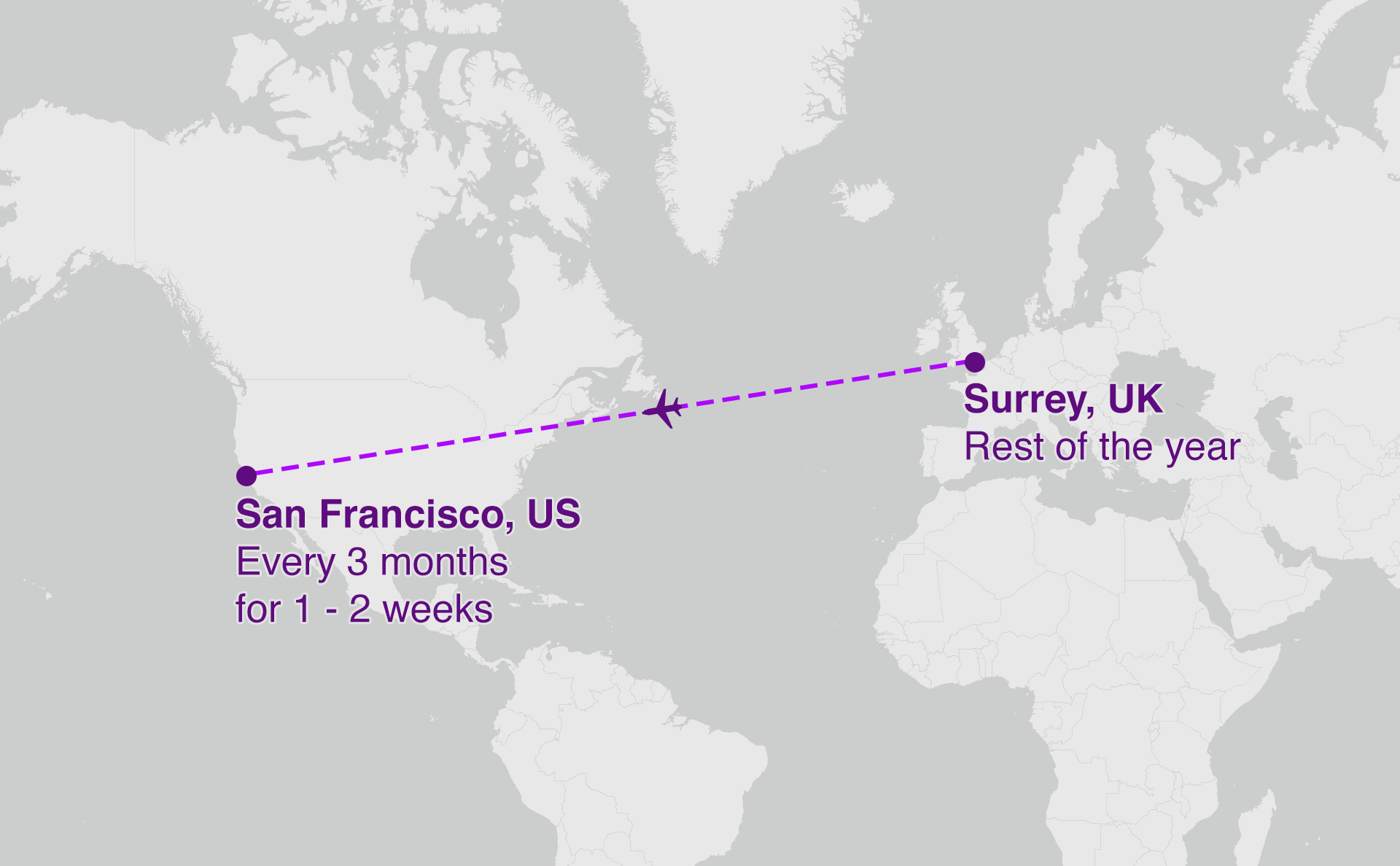 Map showing San Francisco to Surrey