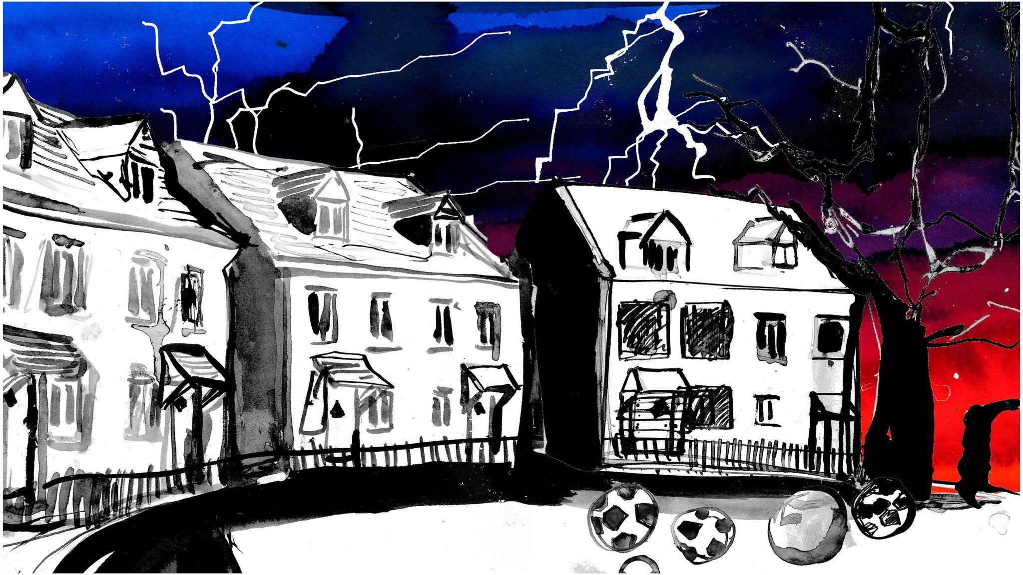 Lightning strikes the housing development