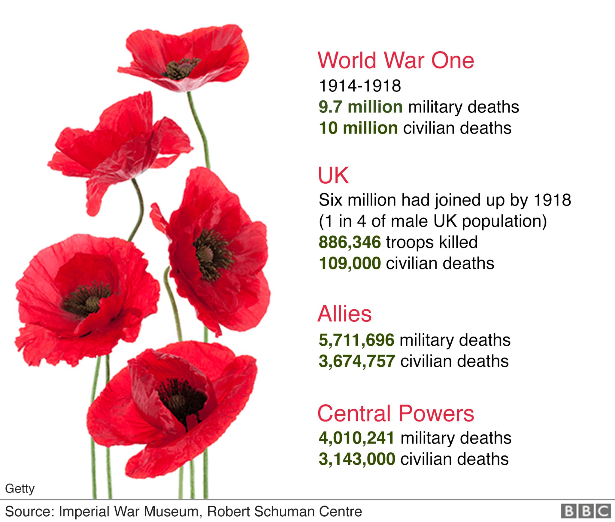 WW1 in numbers