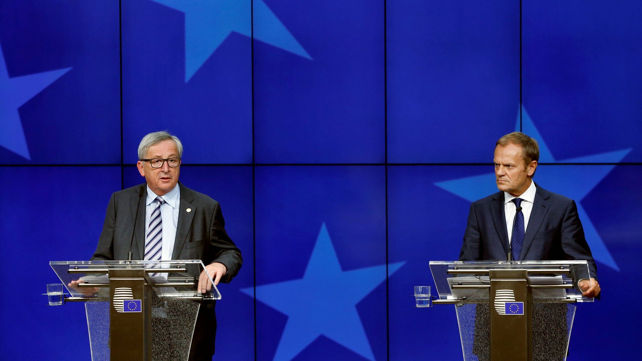European Commission President Jean-Claude Juncker and European Council President Donald Tusk (R) address a joint news conference on the second day of the EU Summit in Brussels, Belgium, June 29, 2016