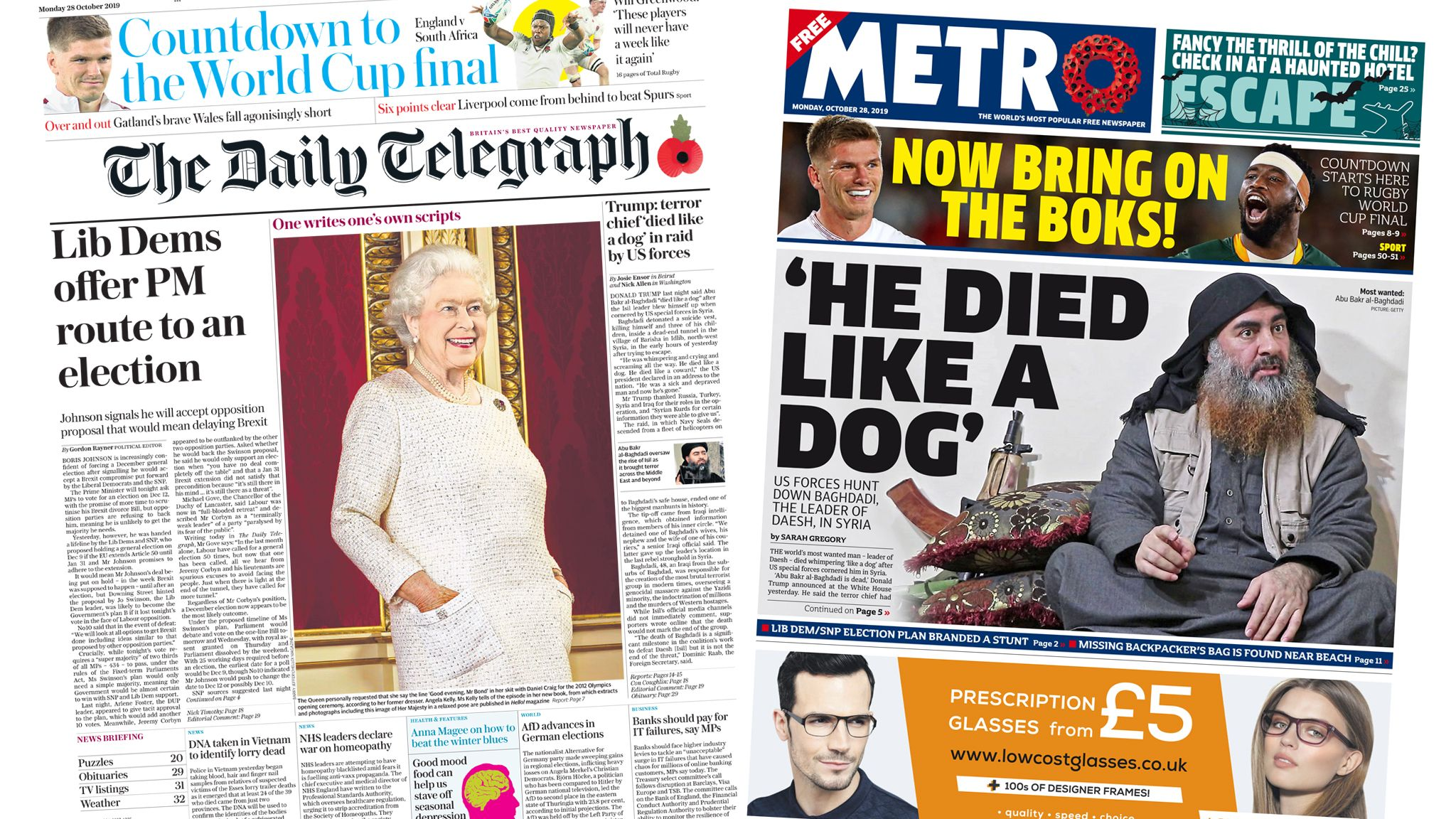 A composite of the Daily Telegraph and Metro front pages on Monday