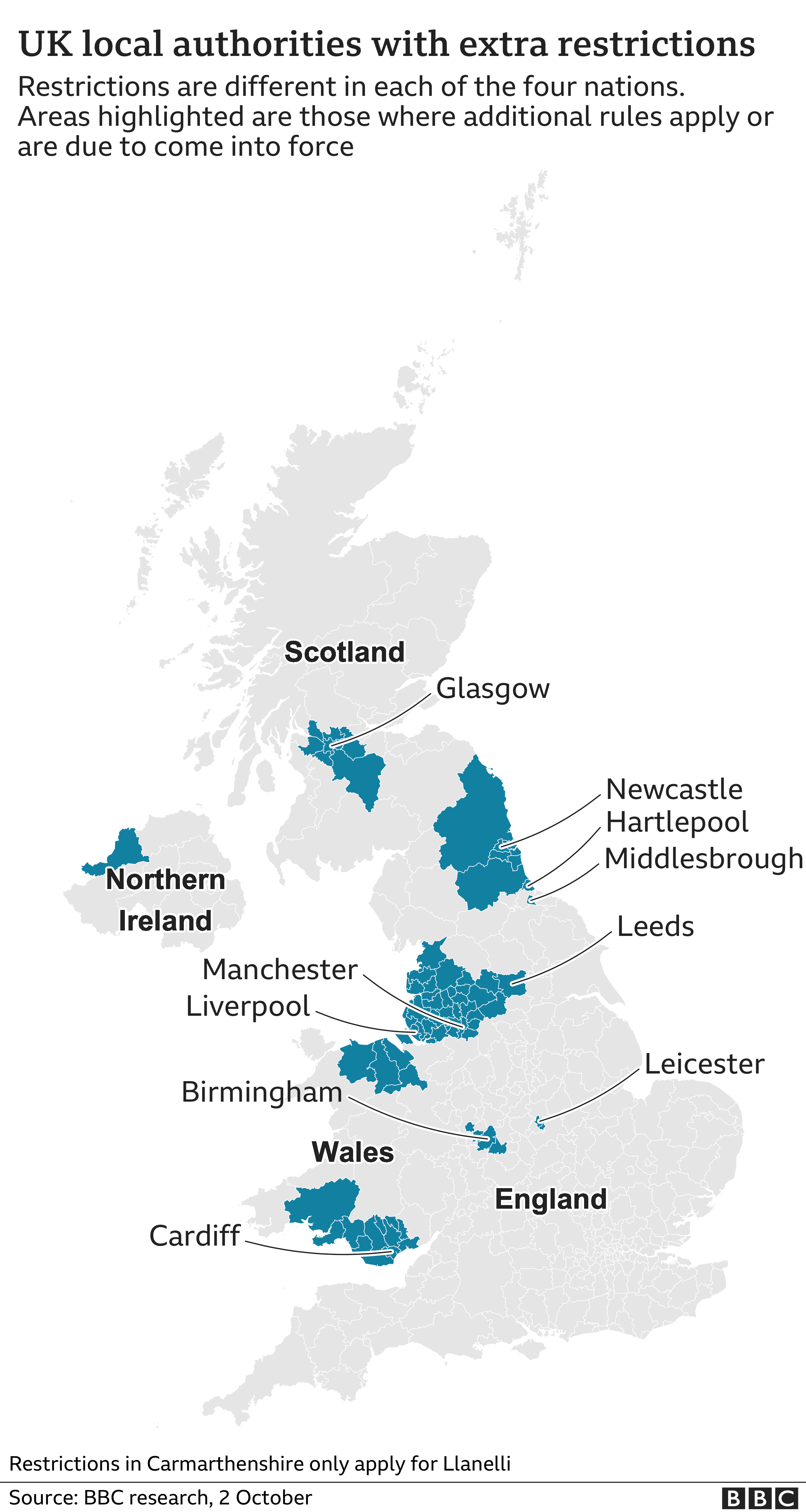 Map showing UK areas with extra local restrictions. Updated 2 October.