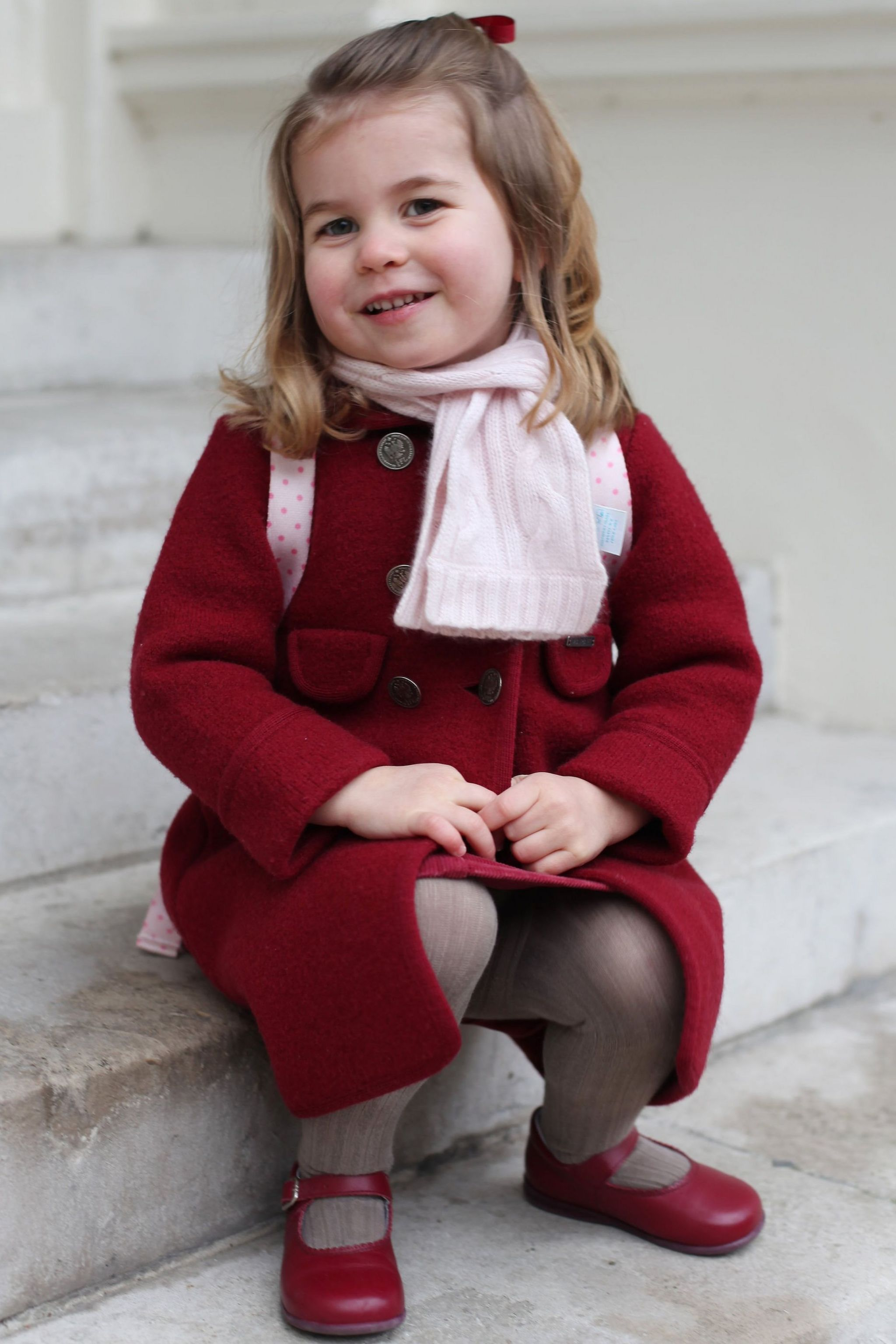 Princess Charlotte taken by her mother at Kensington Palace this morning shortly before the princess left for her first day of nursery in 2018