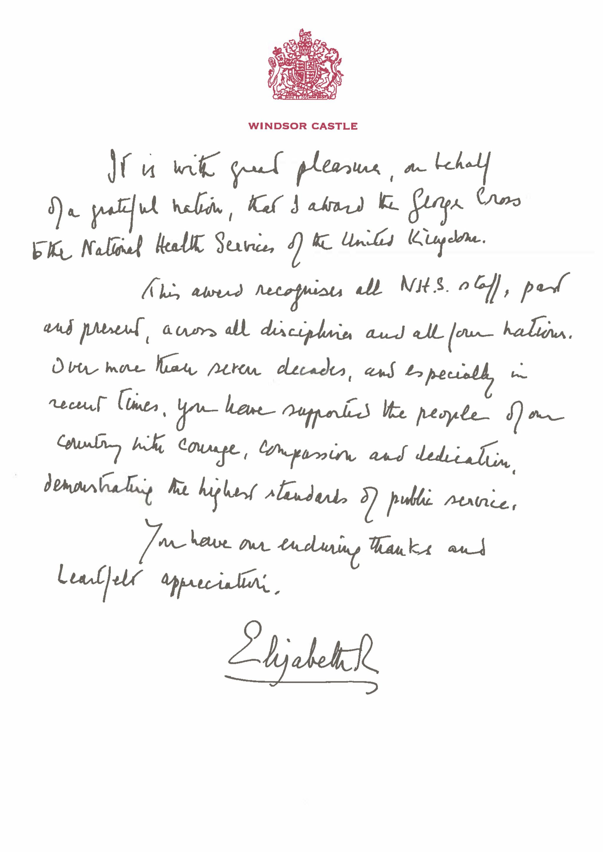 A copy of the handwritten message from Queen Elizabeth II in support of the award of the George Cross to the NHS