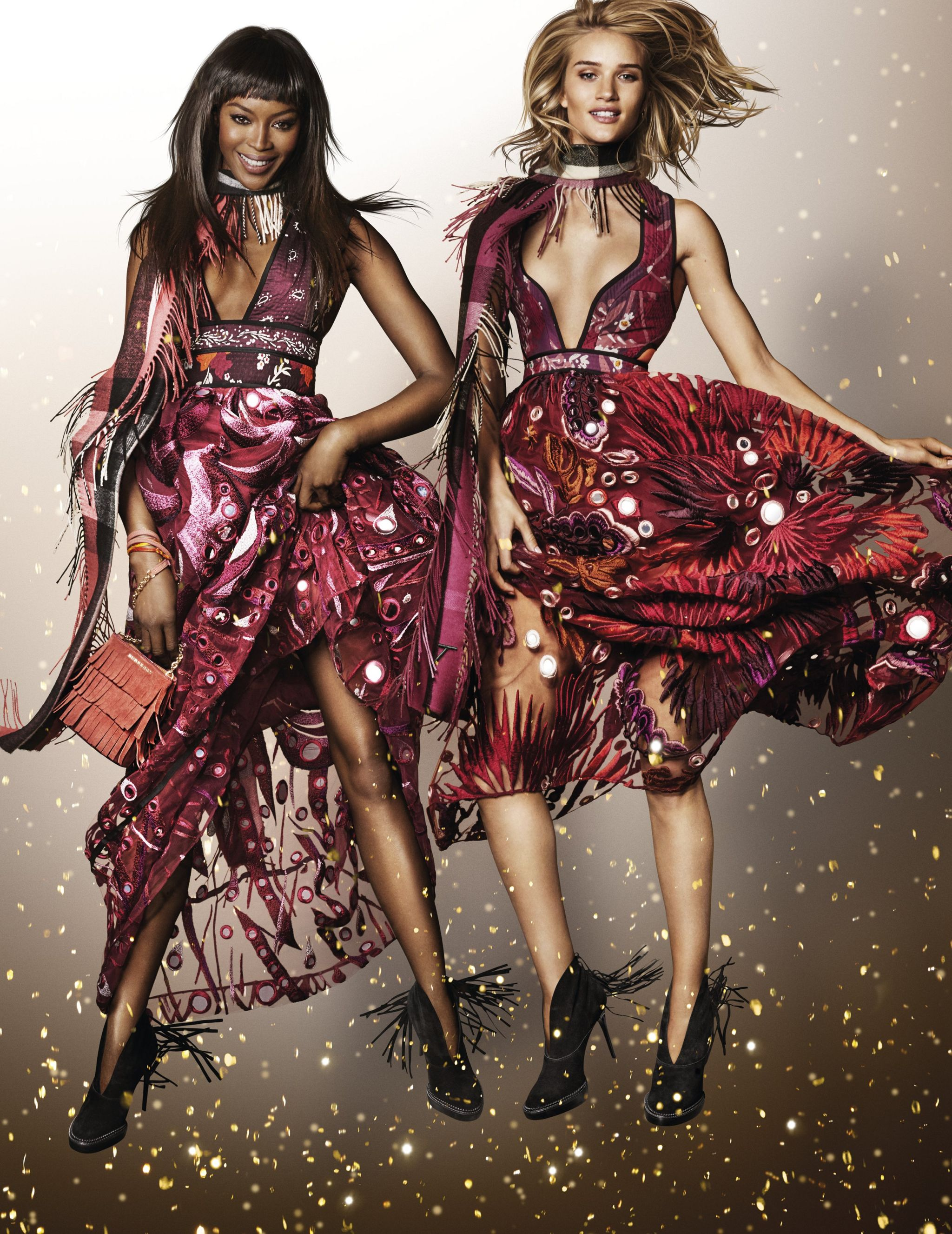 Naomi Campbell and Rosie Huntington-Whiteley in a Burberry campaign