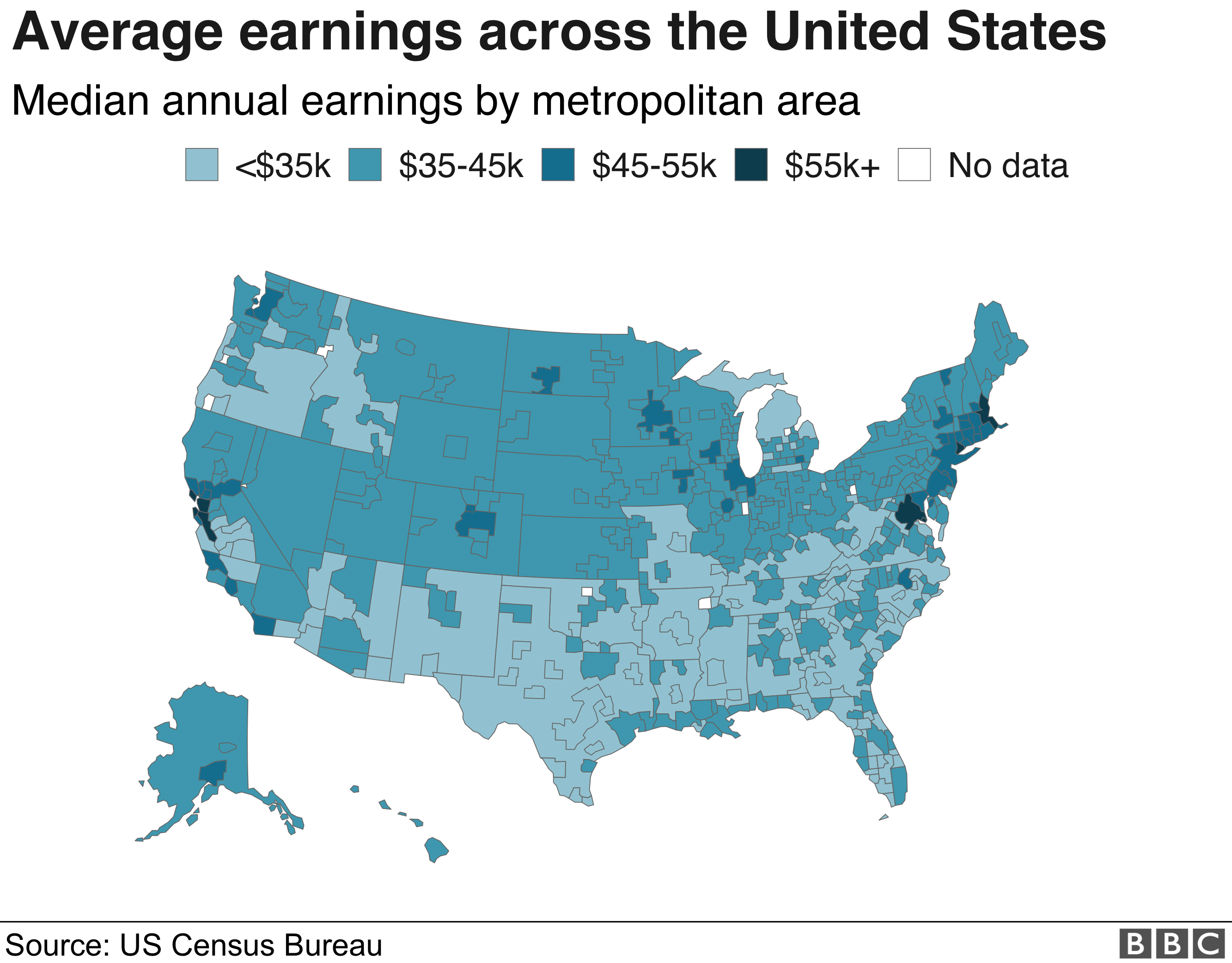 Map of earnings in United States by metropolitan area