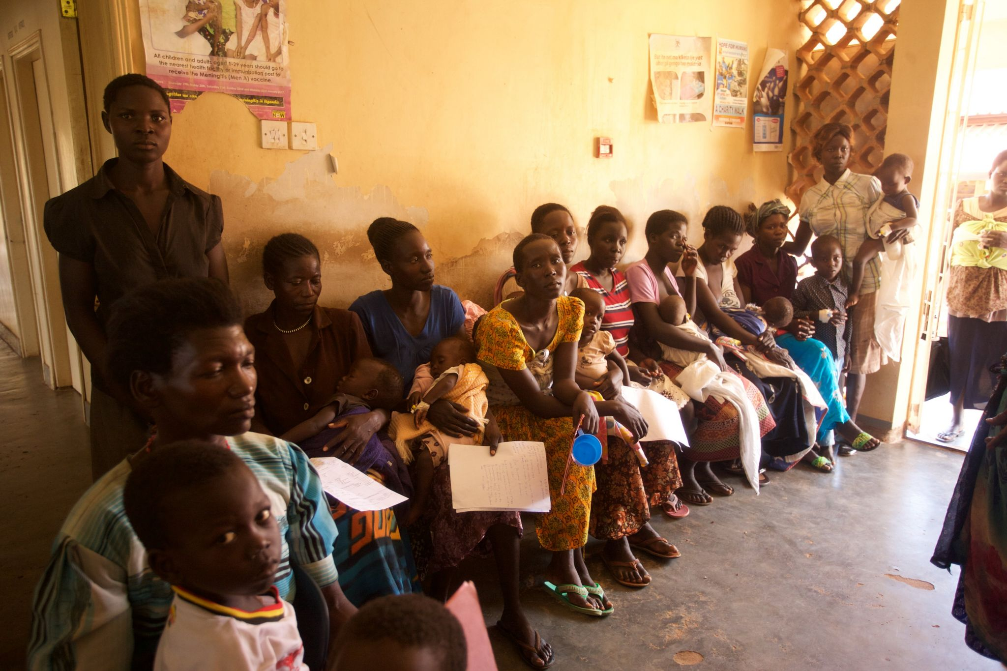 Queue of parents with children at Kitgum Hospital in northern Uganda