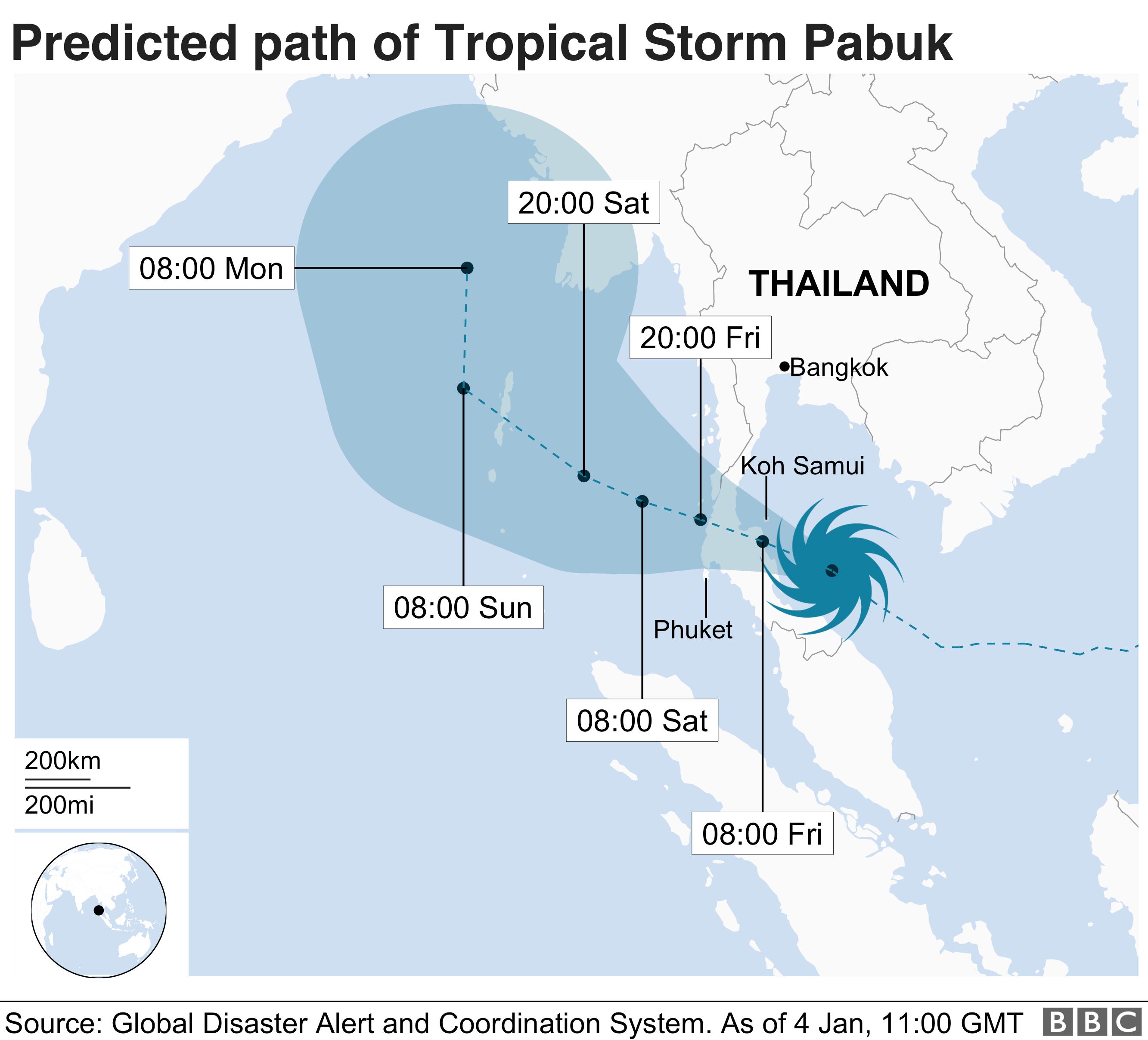 Pabuk storm path map