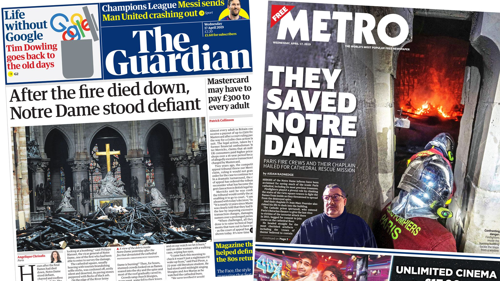 The Guardian and Metro front pages on 17 April 2019