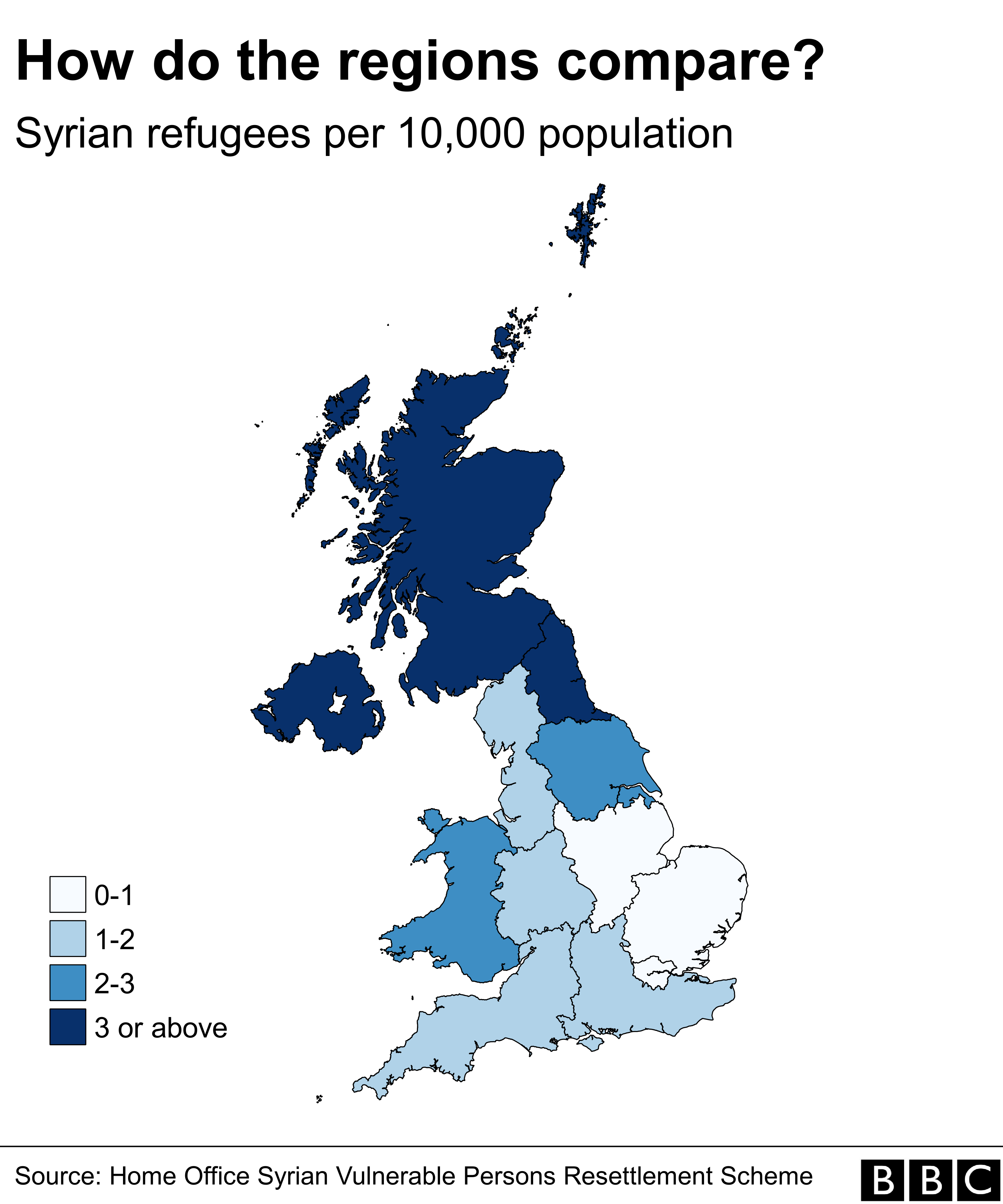 Map showing the settlement of refugees by region