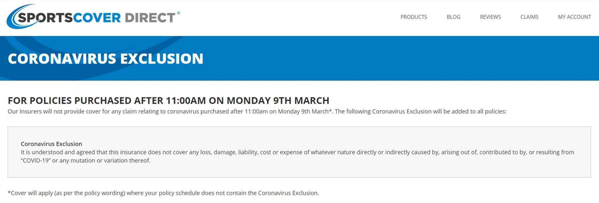 SportsCover Direct website notice