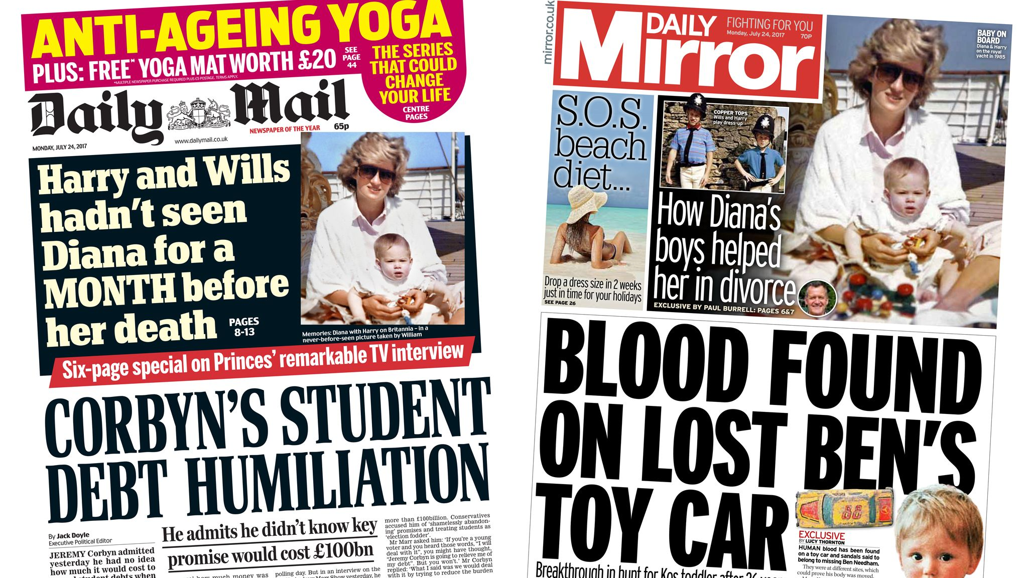 Daily Mail and Daily Mirror front