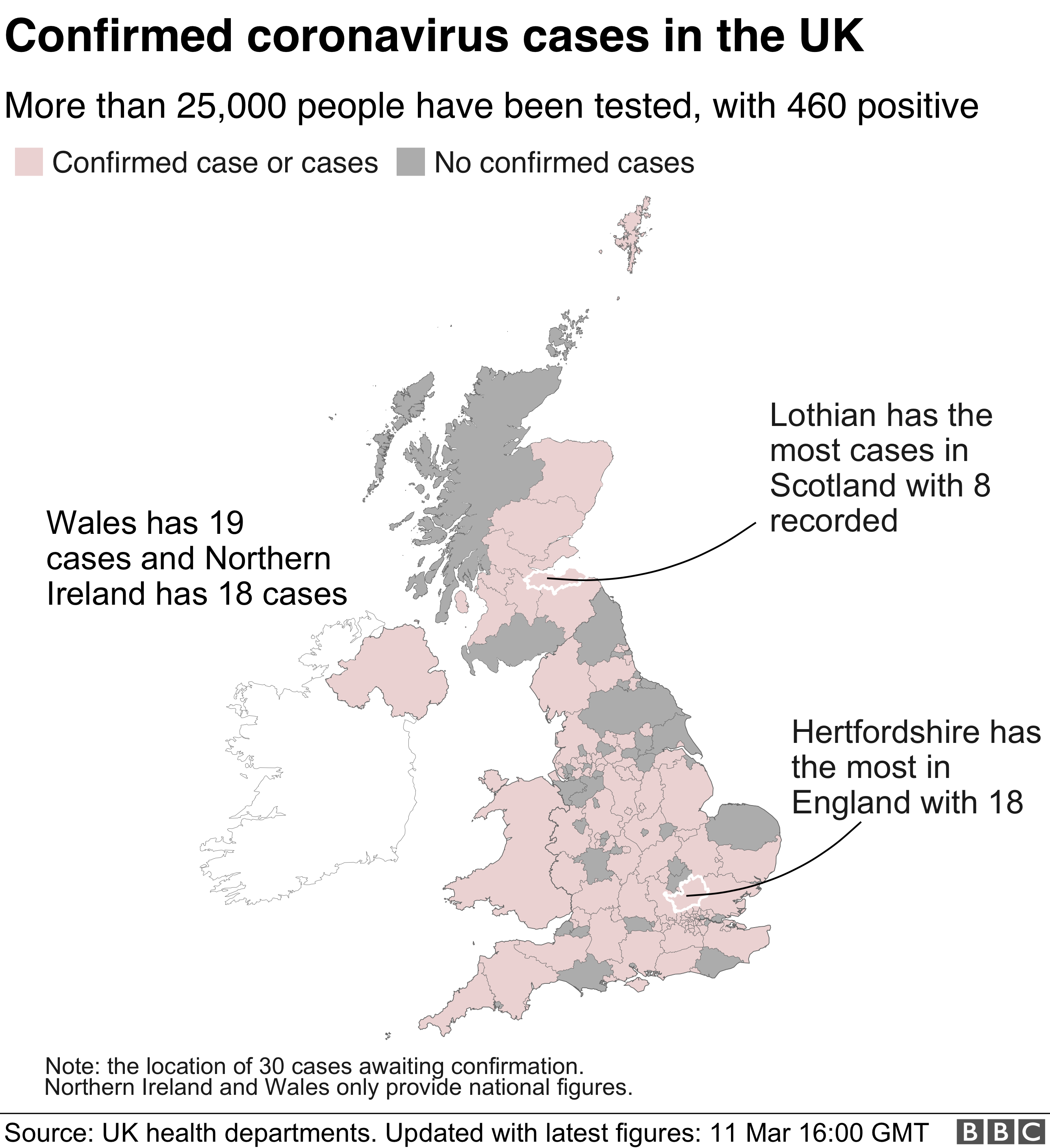 Map showing areas of the UK with coronavirus cases