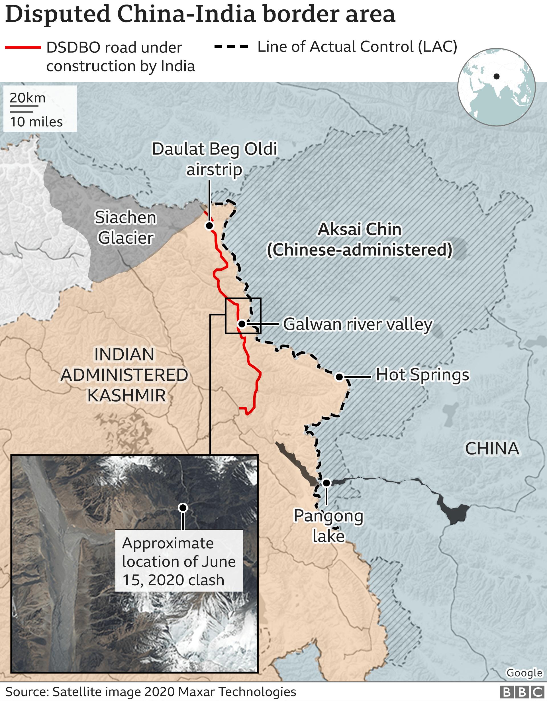 Disputed China-India border map
