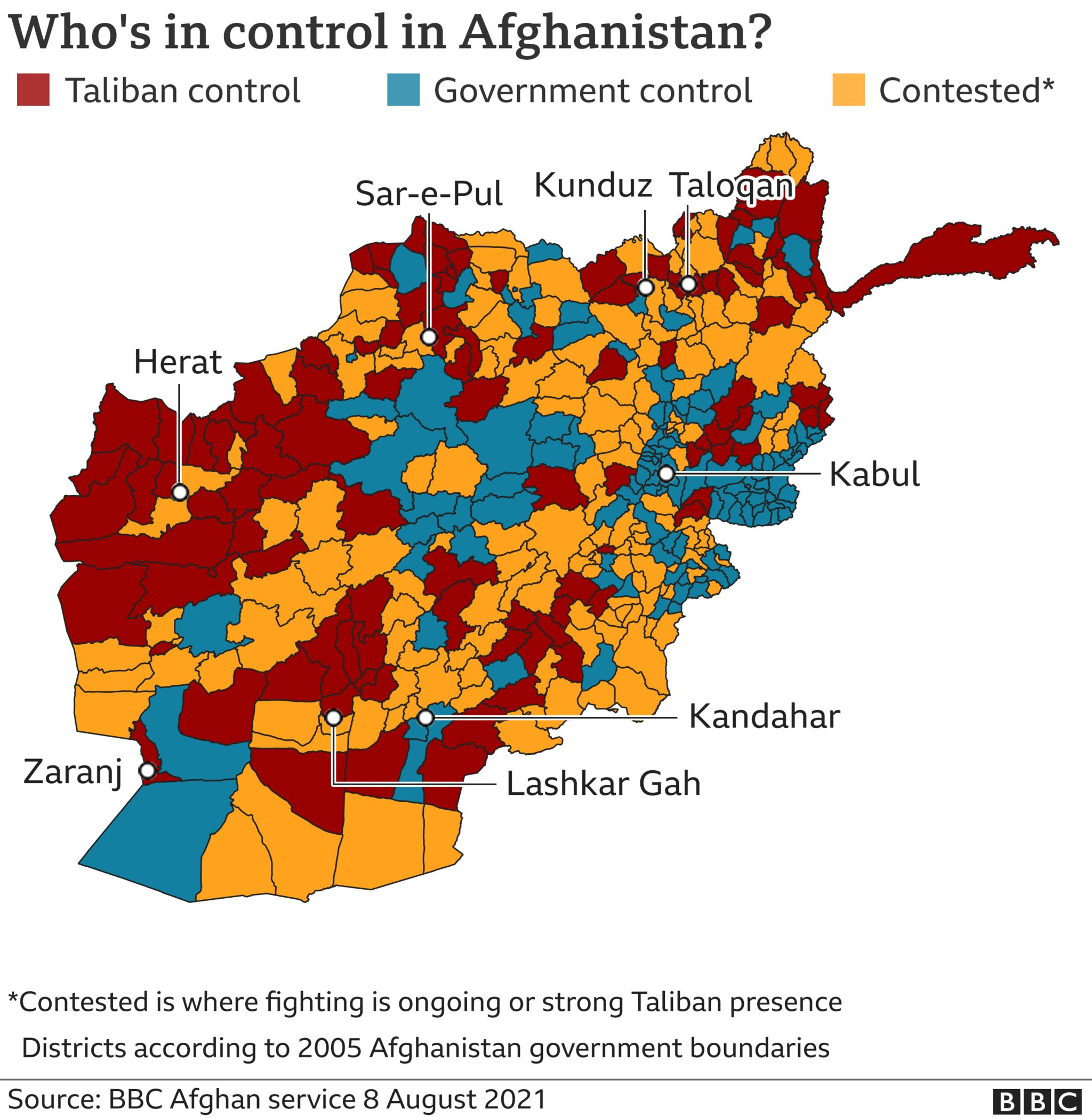 Image shows areas of control in Afghanistan